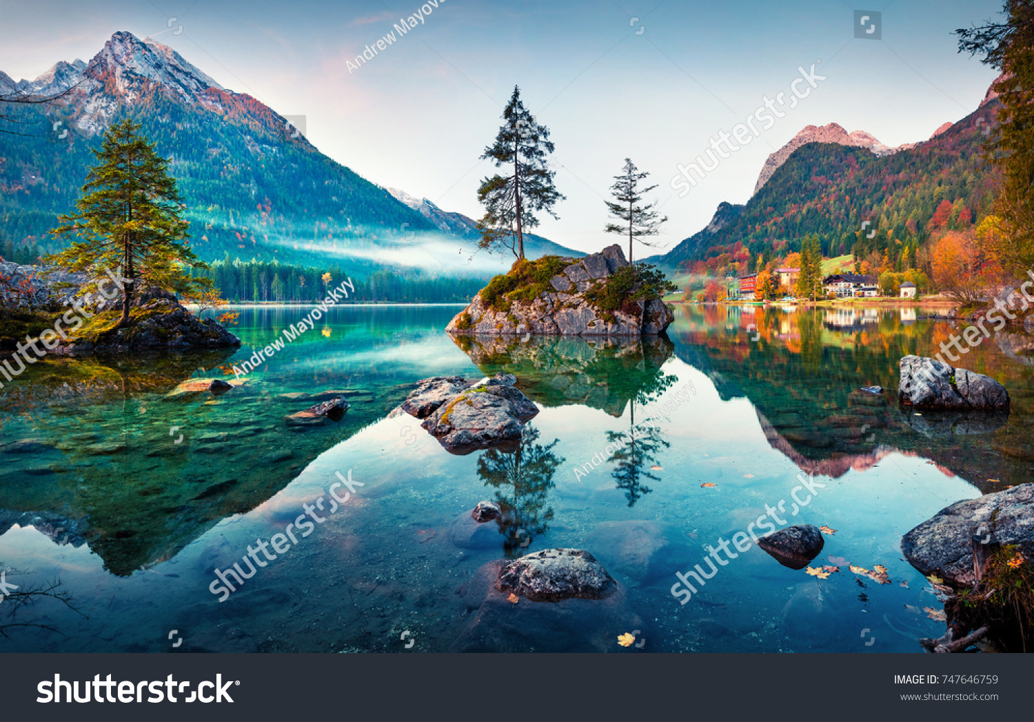 Beautiful autumn scene of Hintersee lake. Colorful morning view of Bavarian Alps on the Austrian border, Germany, Europe. Beauty of nature concept background. #747646759
