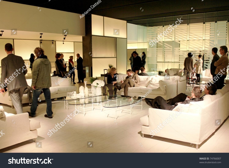 Milan april 15 people visit interior stock photo 74766007 shutterstock for International interior design exhibition