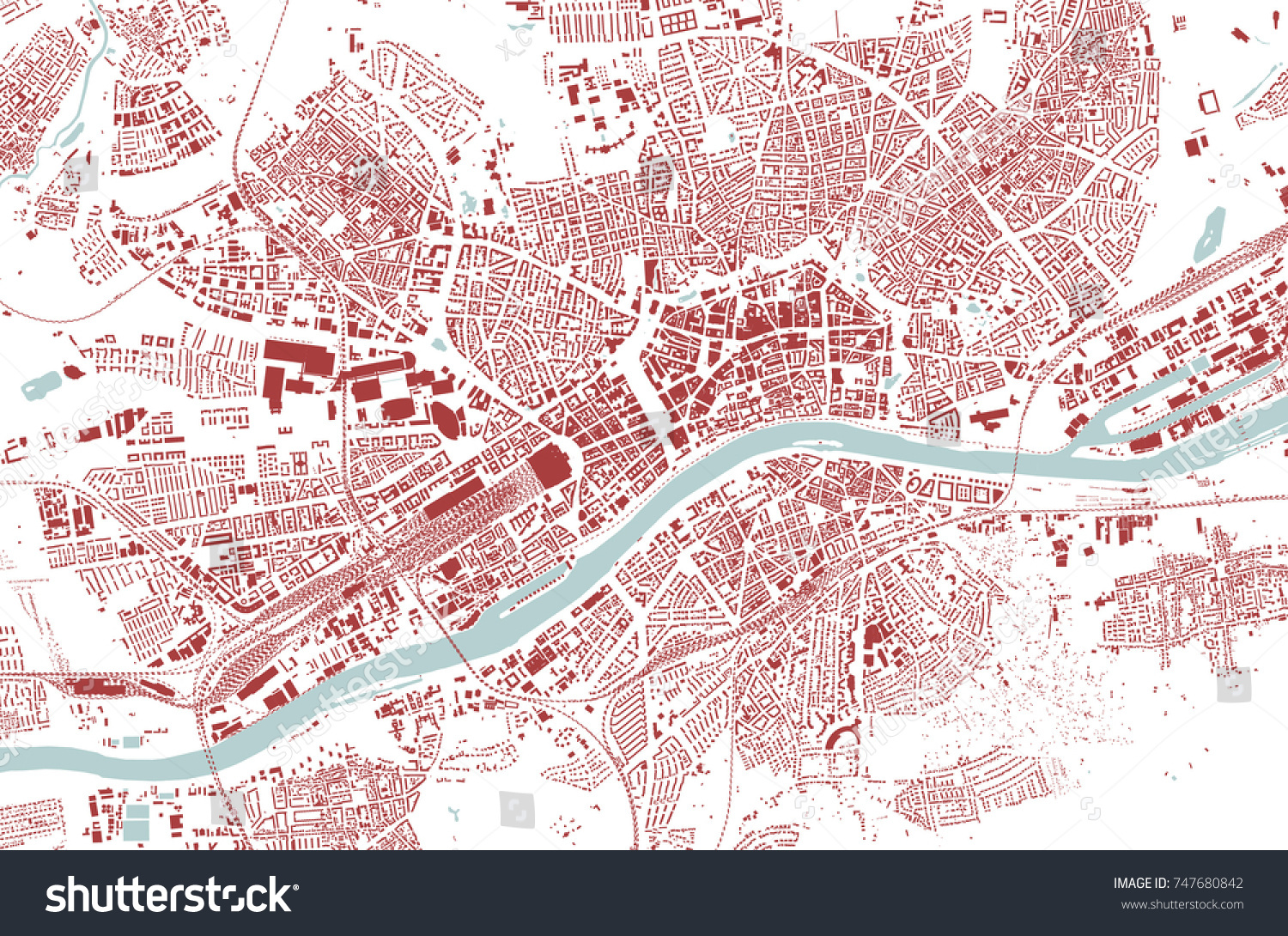 Vector Map Frankfurt Germany City Heidelberg Stock Vector (Royalty ...