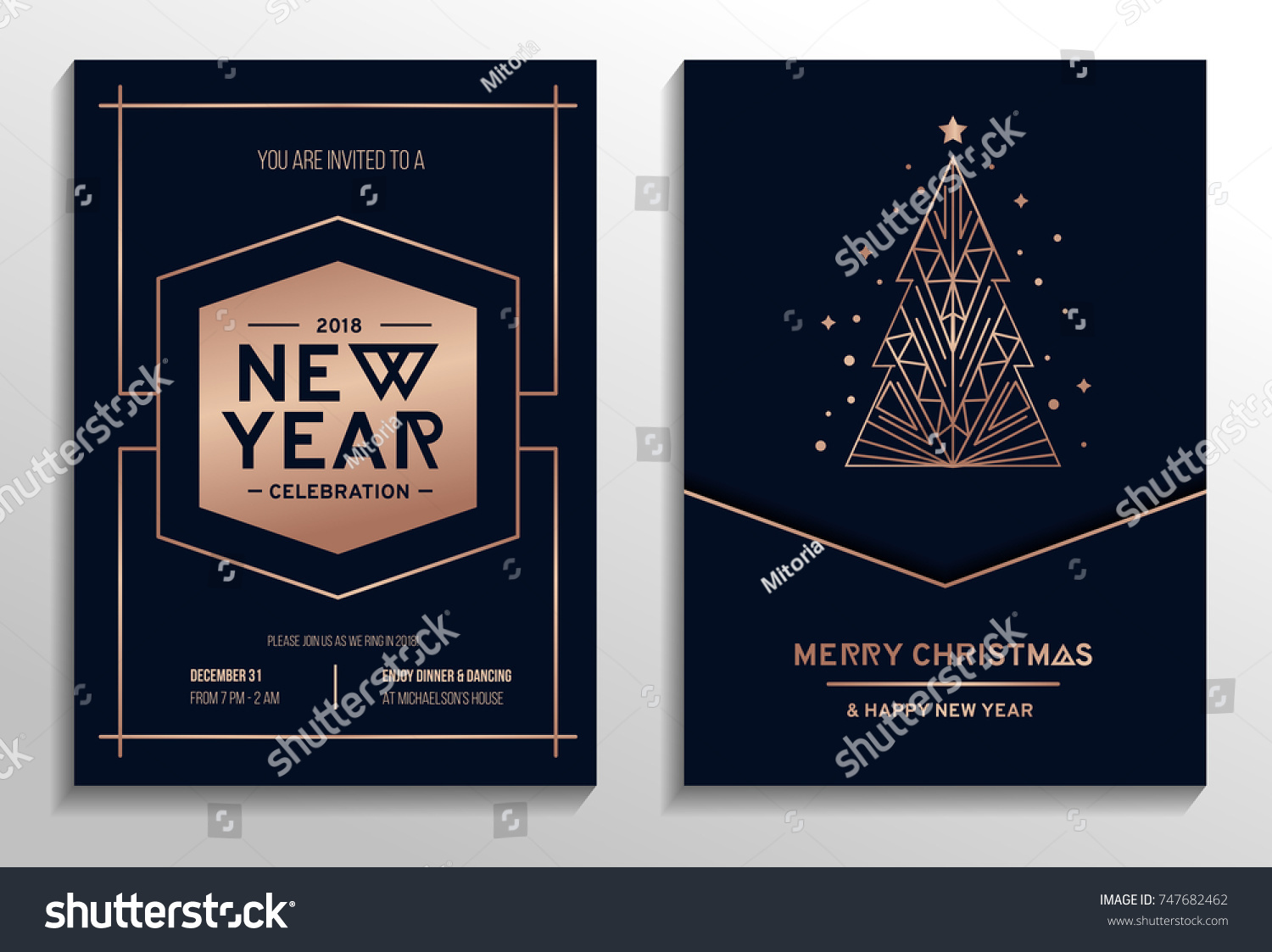 New year party rose gold invitation. Geometric christmas design with rose gold tree. New year greeting card. Vector illustration #747682462