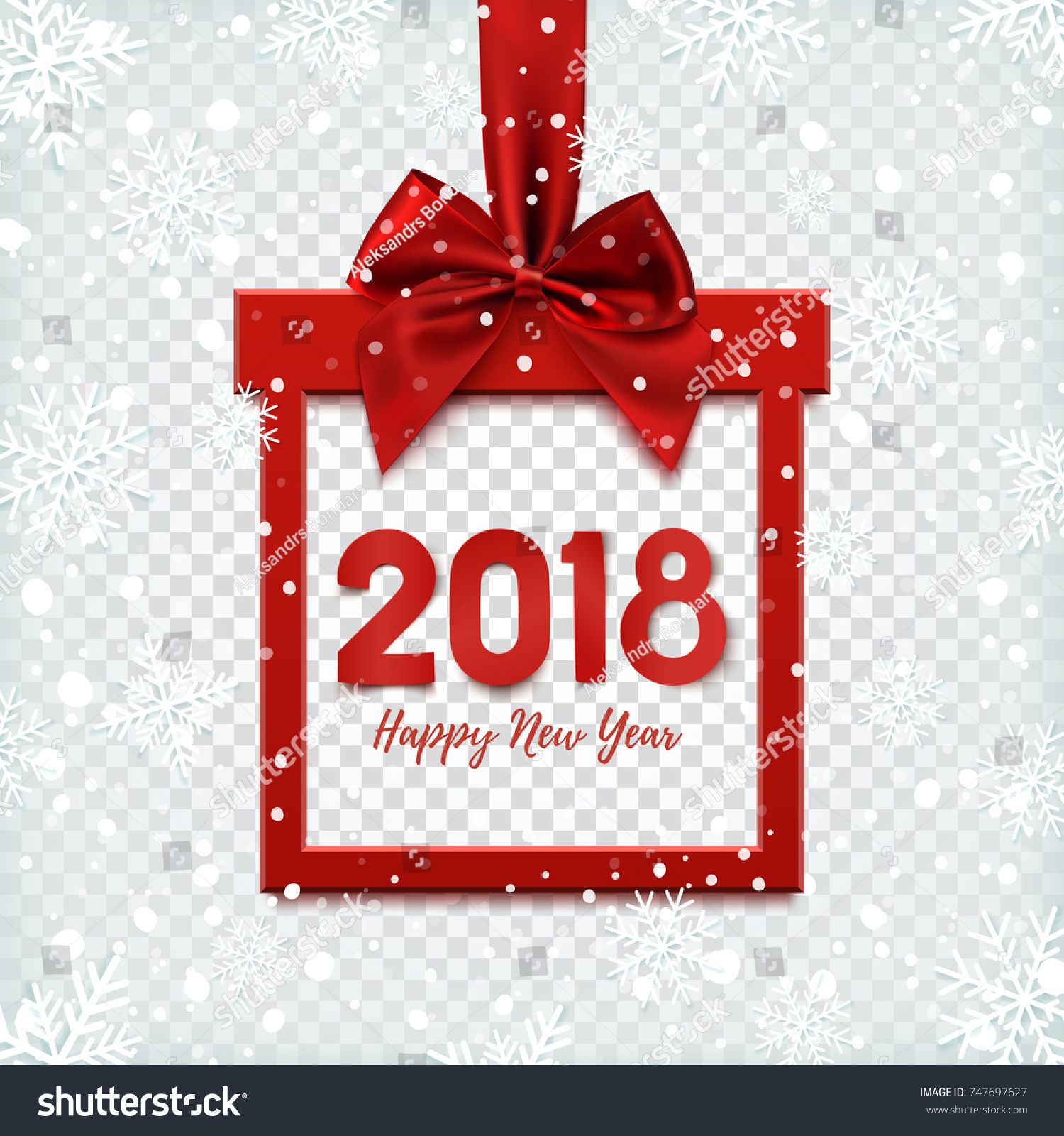 happy new year 2018 background square banner in form of christmas gift with red ribbon