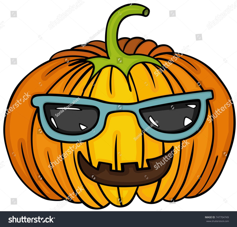 cute pumpkin sunglasses stock vector 747704749 shutterstock