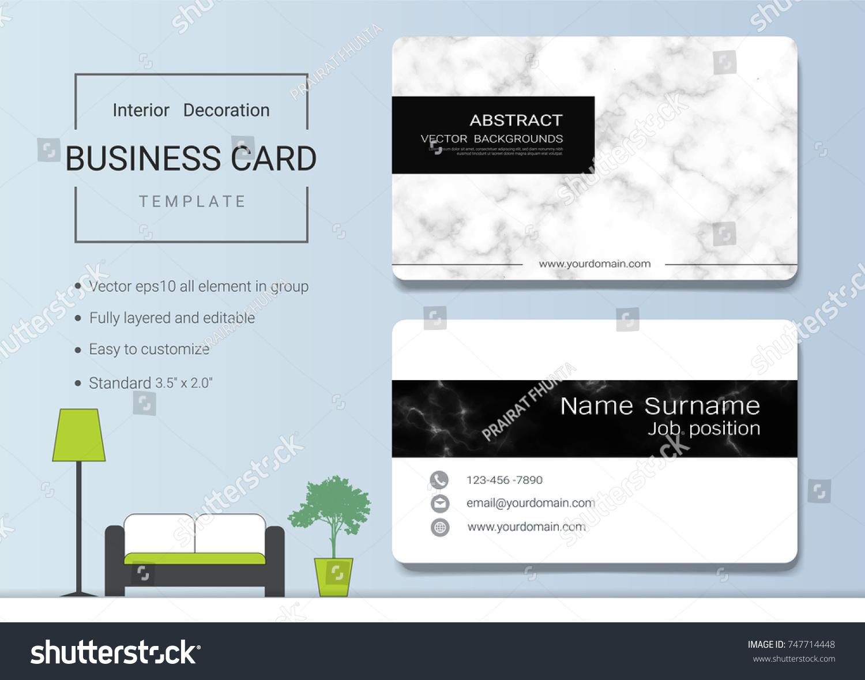 Business Name Card Template Interior Designer Stock Vector Royalty