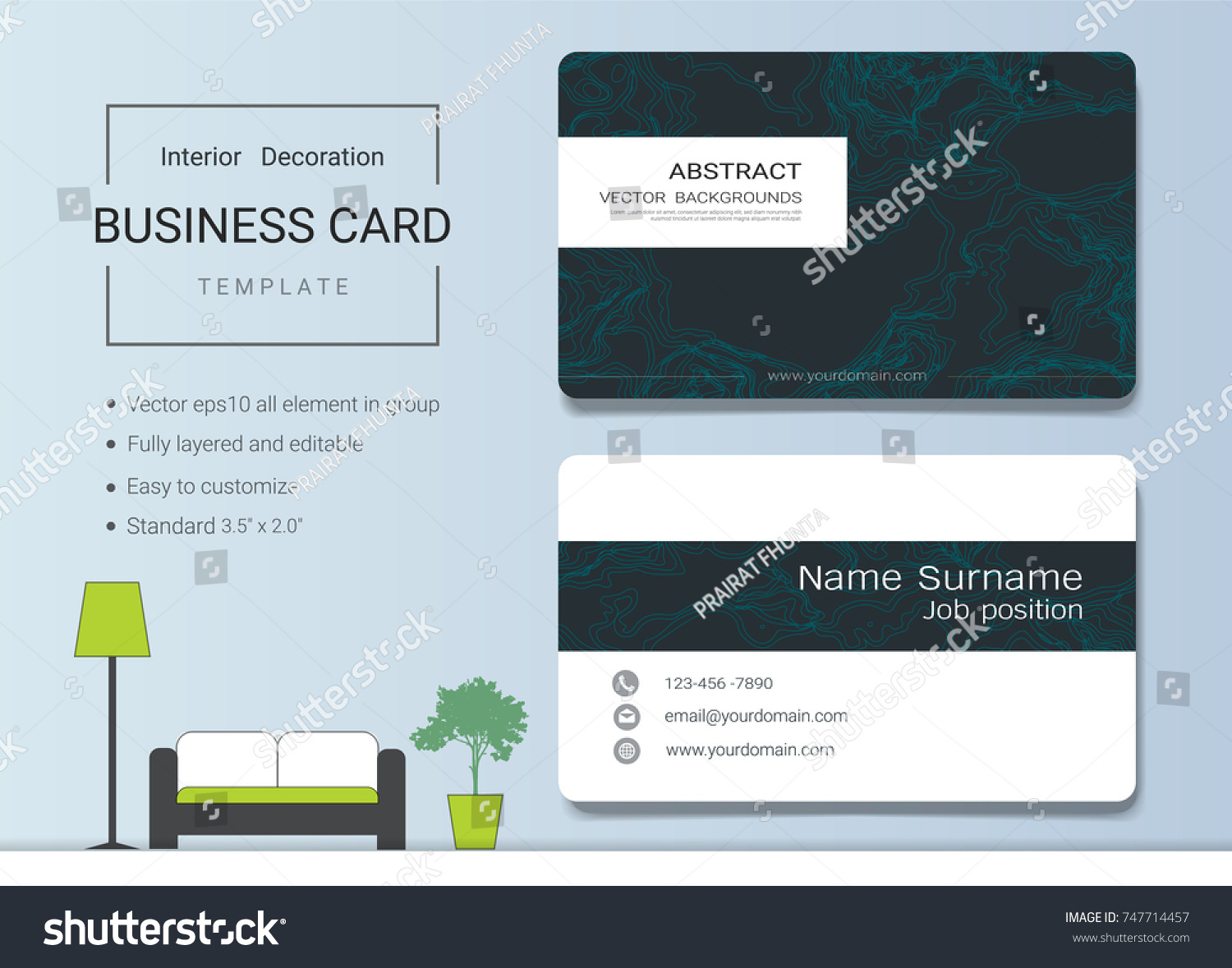 Business name card template interior designer stock vector 747714457 business name card template for interior designer modern and elegant style with marbling texture imitation reheart Images