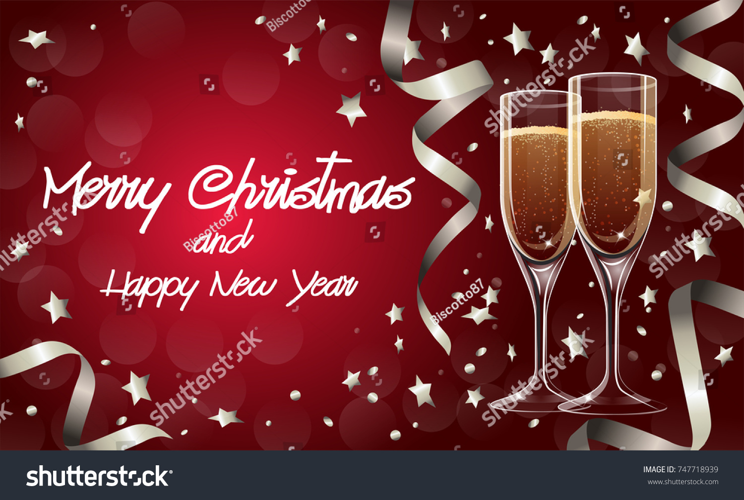 Merry Christmas Happy New Year Greetings Stock Vector 747718939