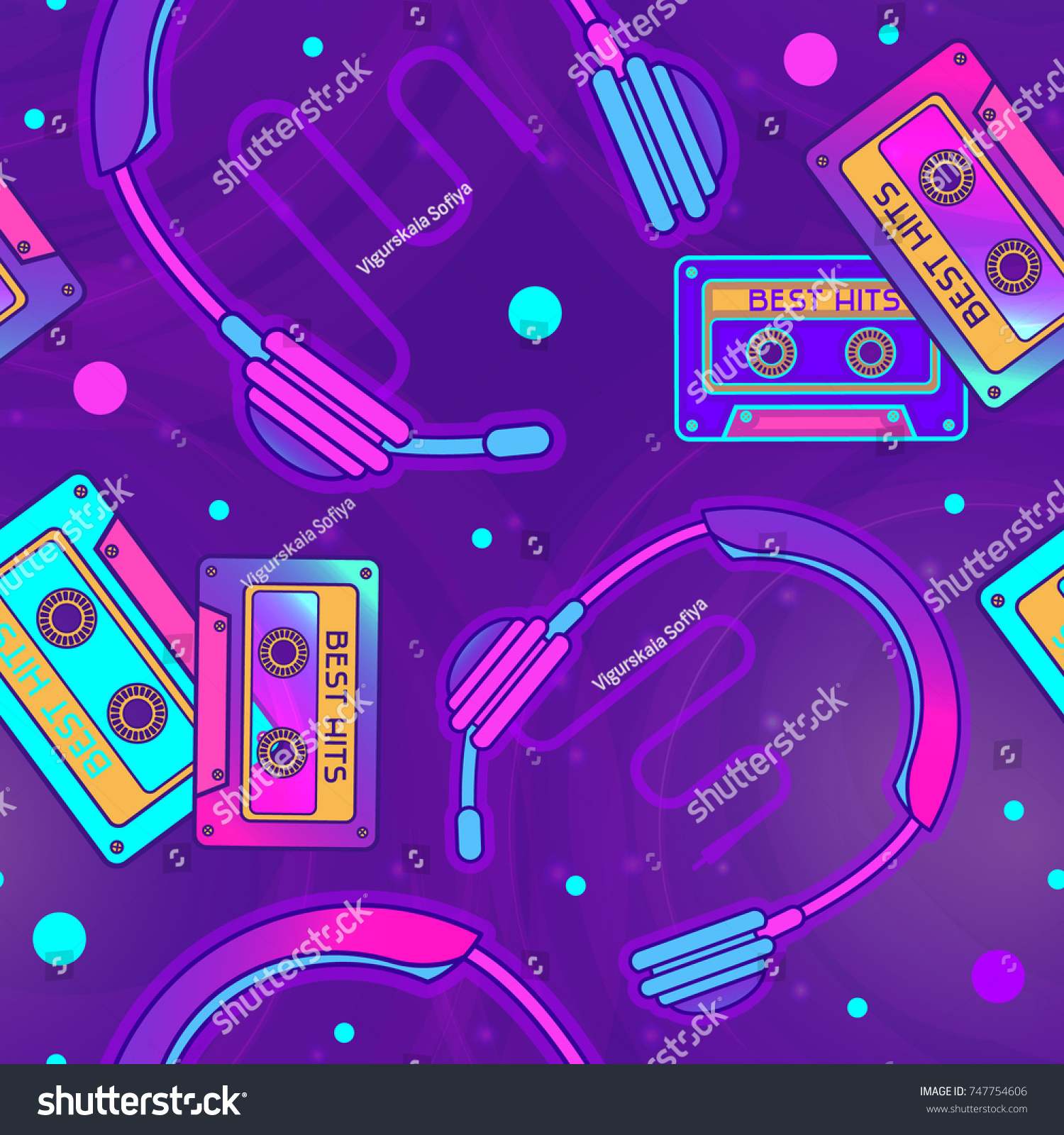 Retro Pop Eighties Radio Seamless Pattern 747754606