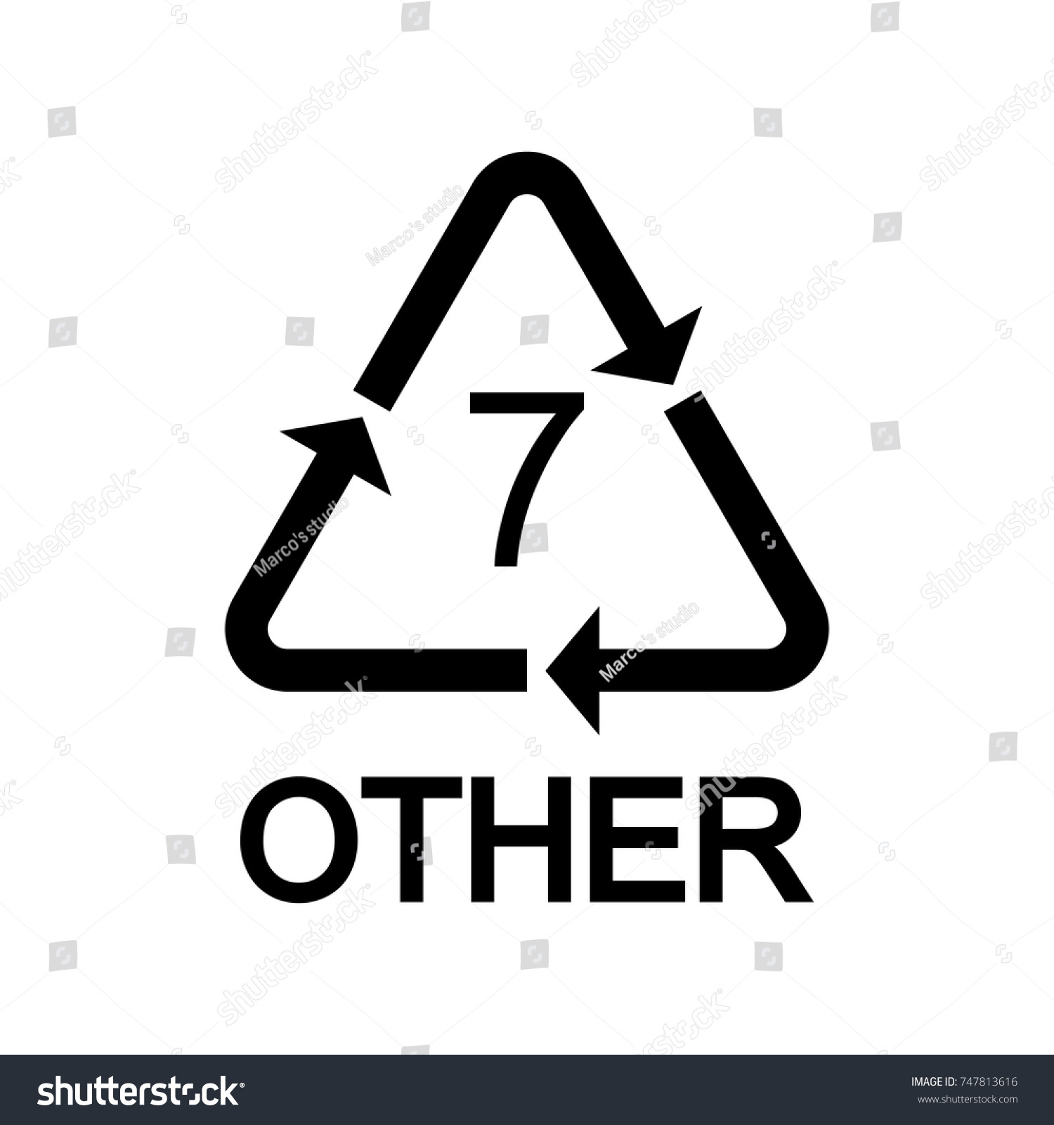 Plastic Recycling Symbol Other 7 Vector Stock Vector Royalty Free