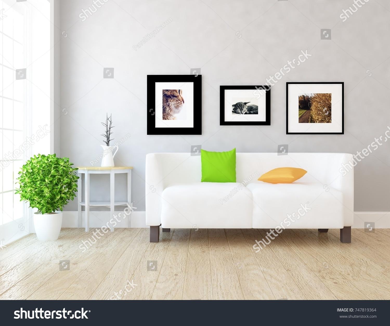 White Scandinavian Room Interior Nordic Interior Stock Illustration ...
