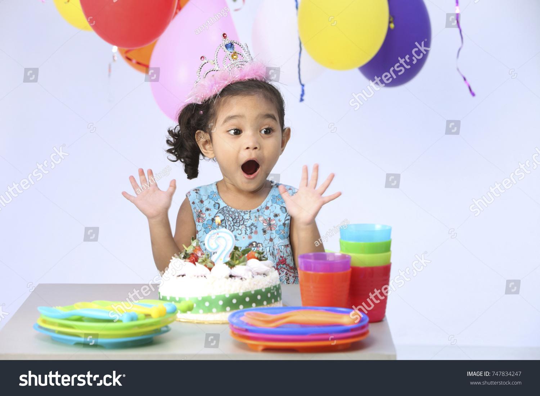 Fine Happy Child Front Birthday Cake Surprise Stock Photo Edit Now Funny Birthday Cards Online Amentibdeldamsfinfo