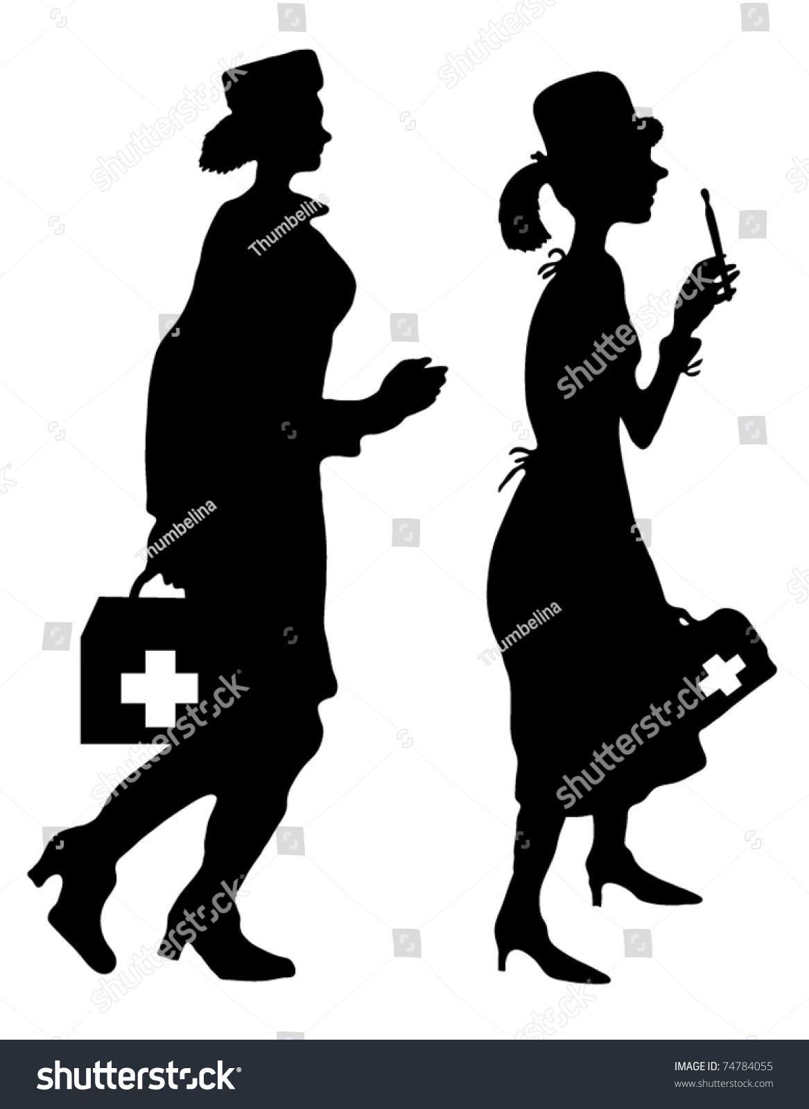 Silhouette Of A Doctor And Nurse Stock Vector Illustration ...