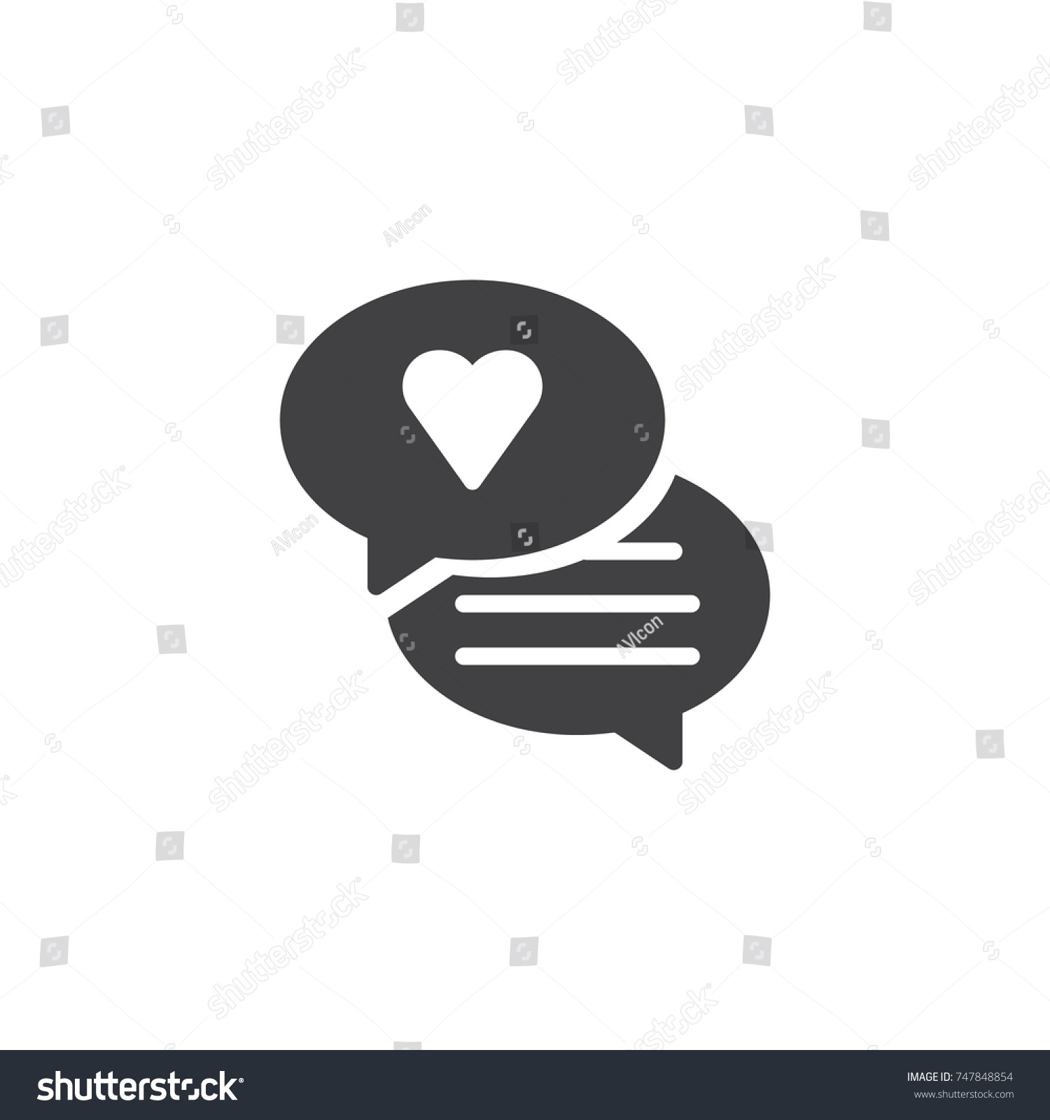 Speech bubble heart icon vector filled stock vector 747848854 speech bubble with heart icon vector filled flat sign solid pictogram isolated on white biocorpaavc