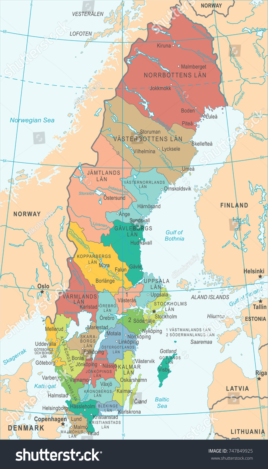 Sweden Map Detailed Vector Illustration Stock Vector 747849925