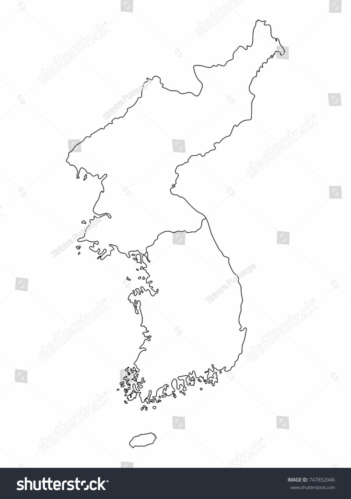 Image of: Vector De Stock Libre De Regalias Sobre North South Korea Map Outline Graphic747852046