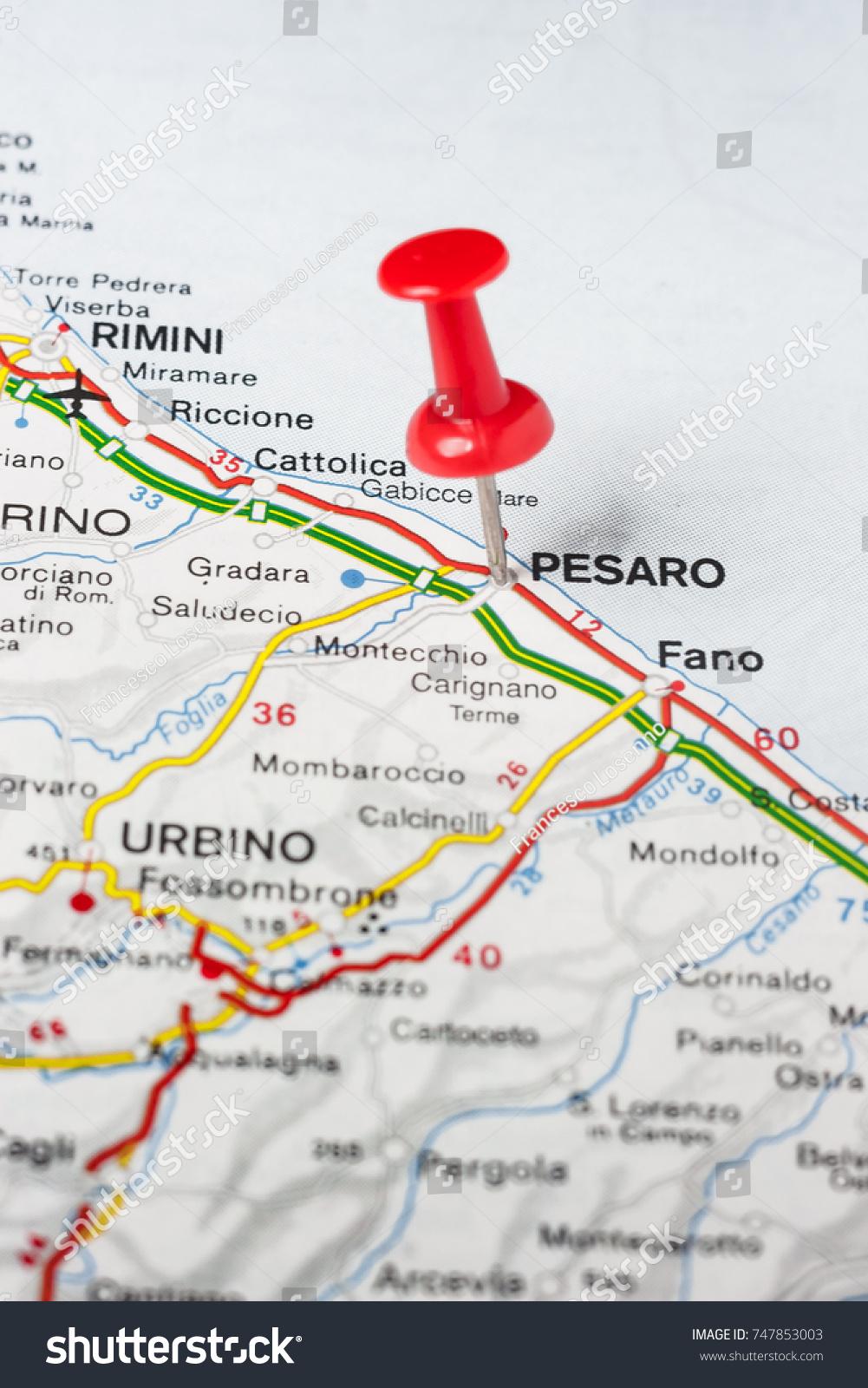Road Map City Pesaro Italy Stock Photo Edit Now 747853003
