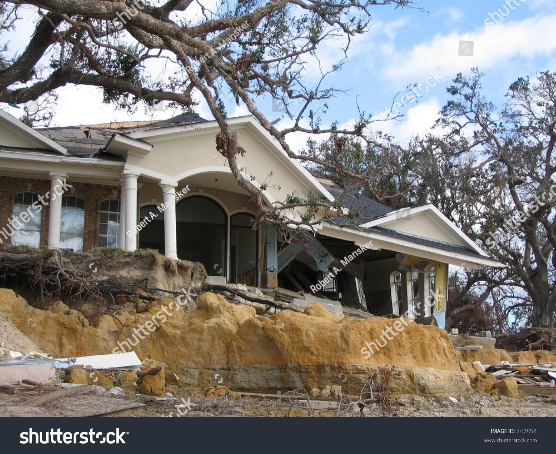 Hurricane Katrina Home Damage Near Biloxi Mississippi