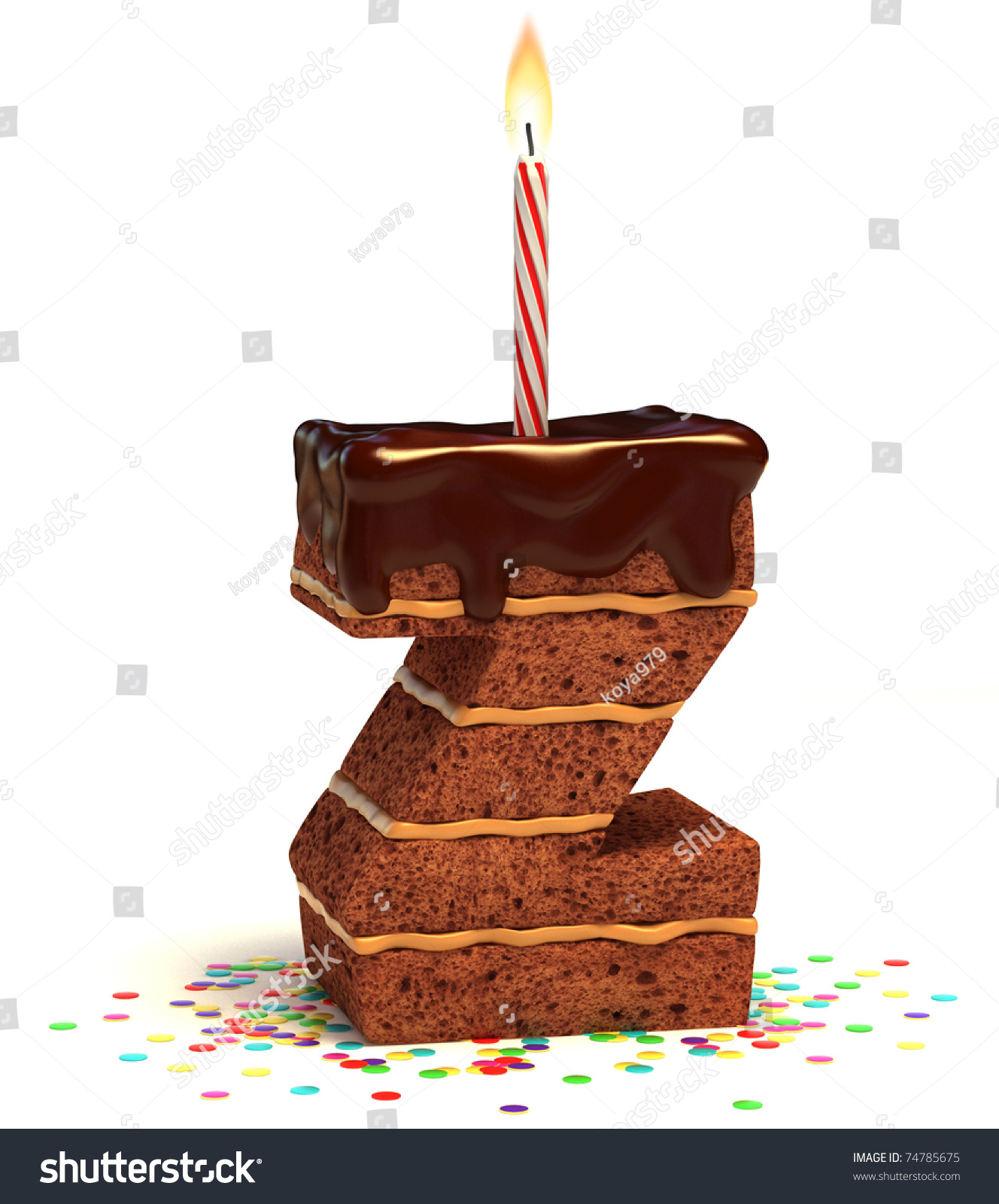 Letter Z Shaped Chocolate Birthday Cake Stock Illustration