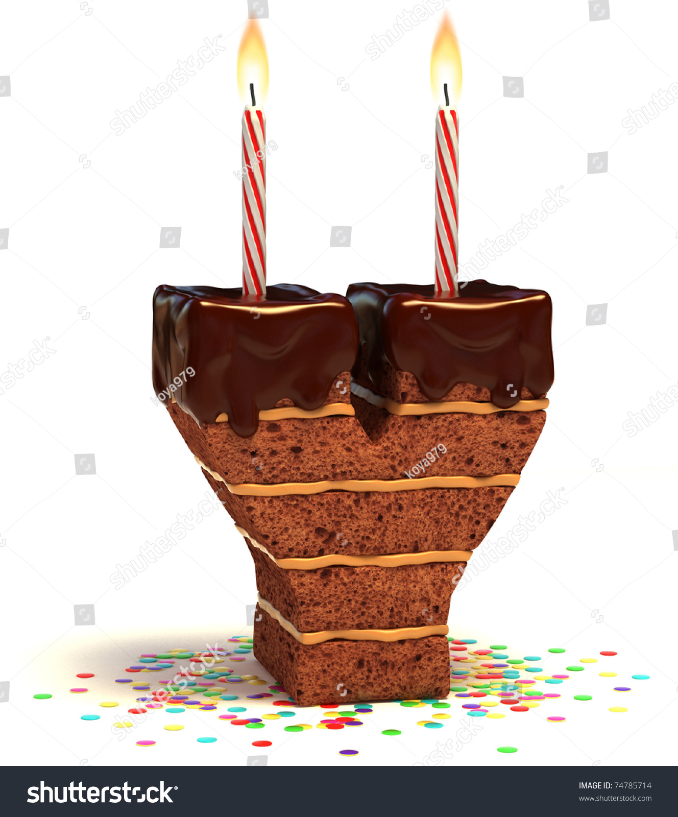 Letter Y Shaped Chocolate Birthday Cake With Lit Candle