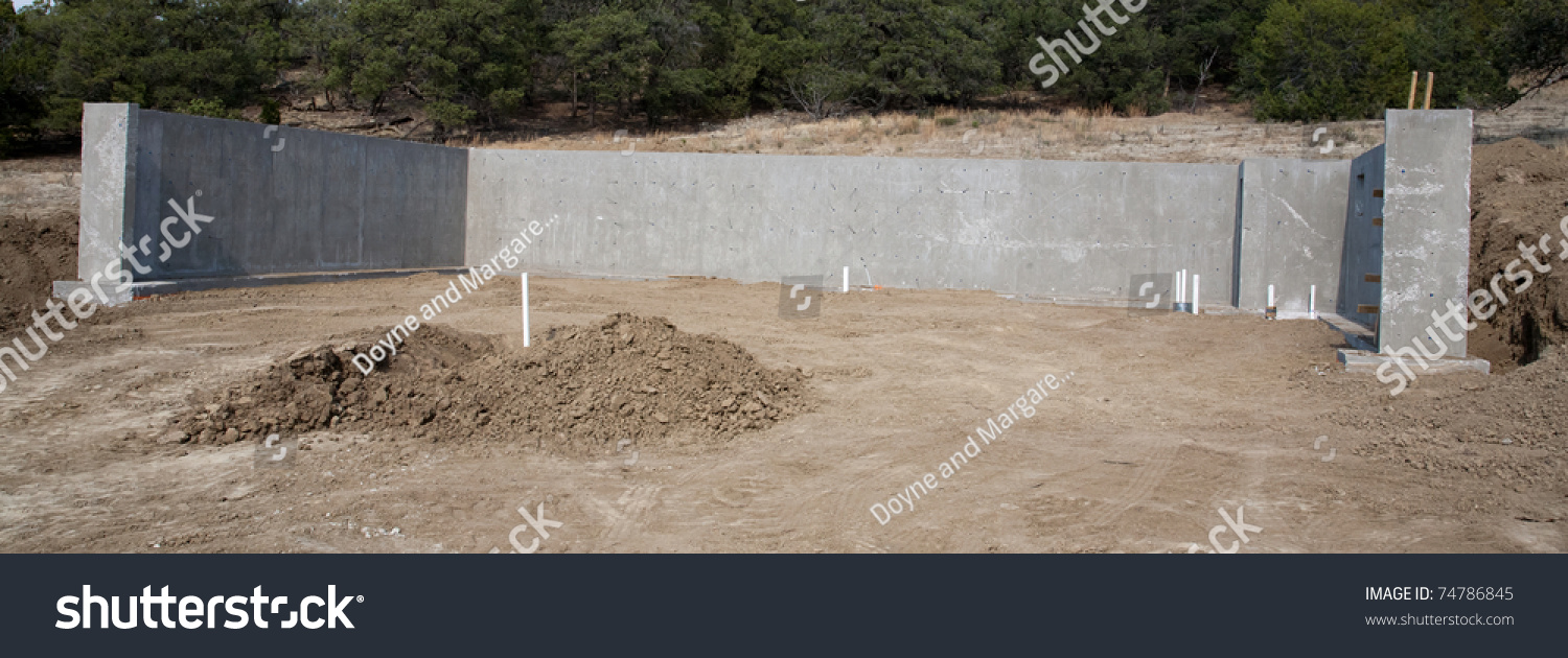 concrete wall foundation walk out basement stock photo 74786845