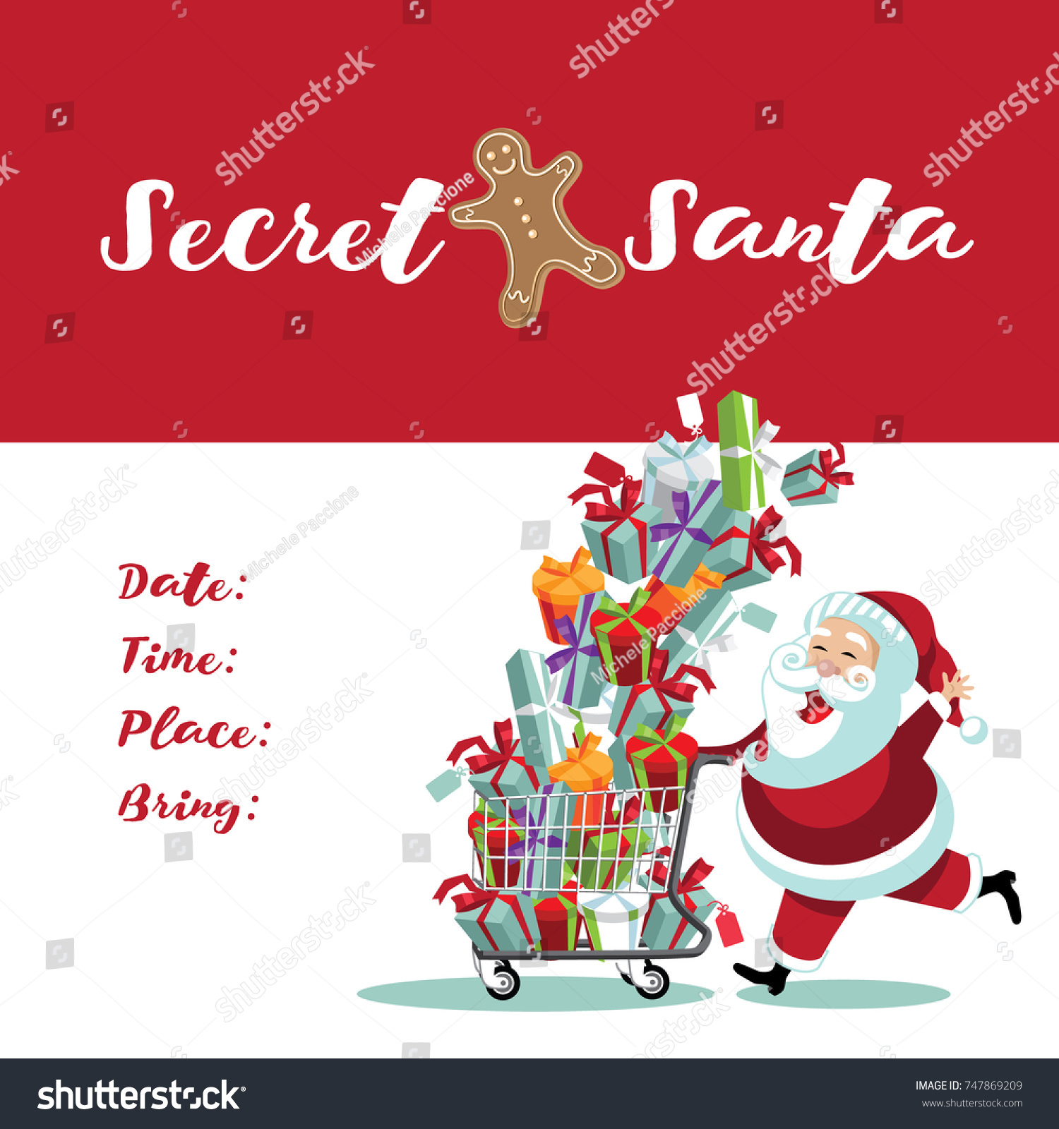 secret santa invitation template cartoon santa stock vector royalty