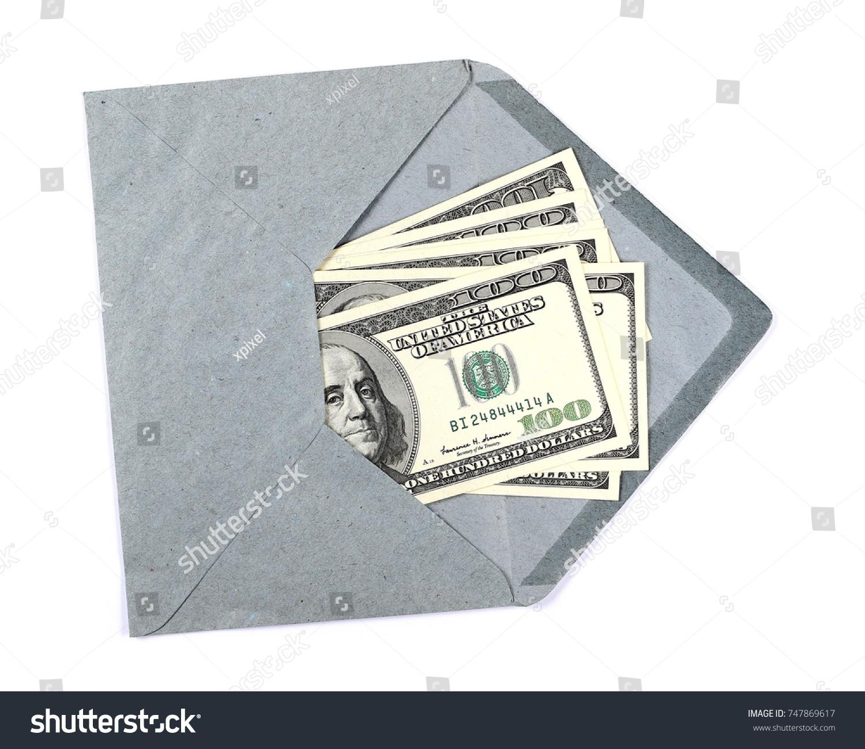US Hundred Dollar Bills Blue Envelope Stock Photo (Royalty Free ...