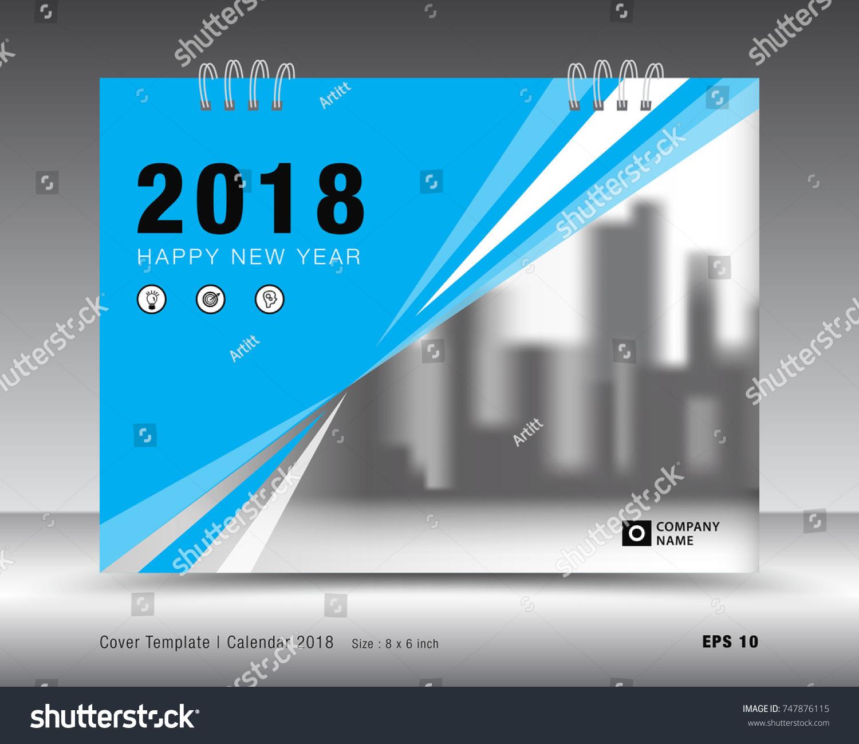 Cover Calendar 2018 Template Blue Cover Stock Vector Royalty Free