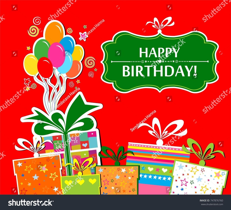 Happy Birthday Greeting Card Celebration Background Stock