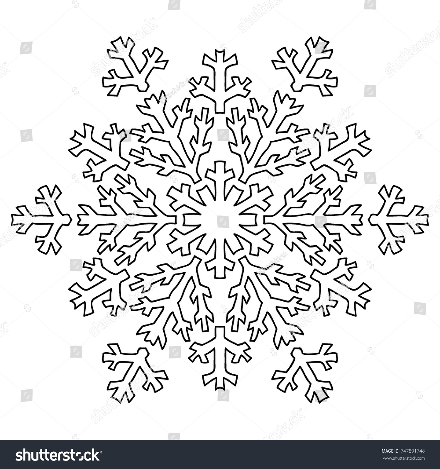 Delicate Snowflake Adult Coloring Book Page Stock Vector 747891748 ...