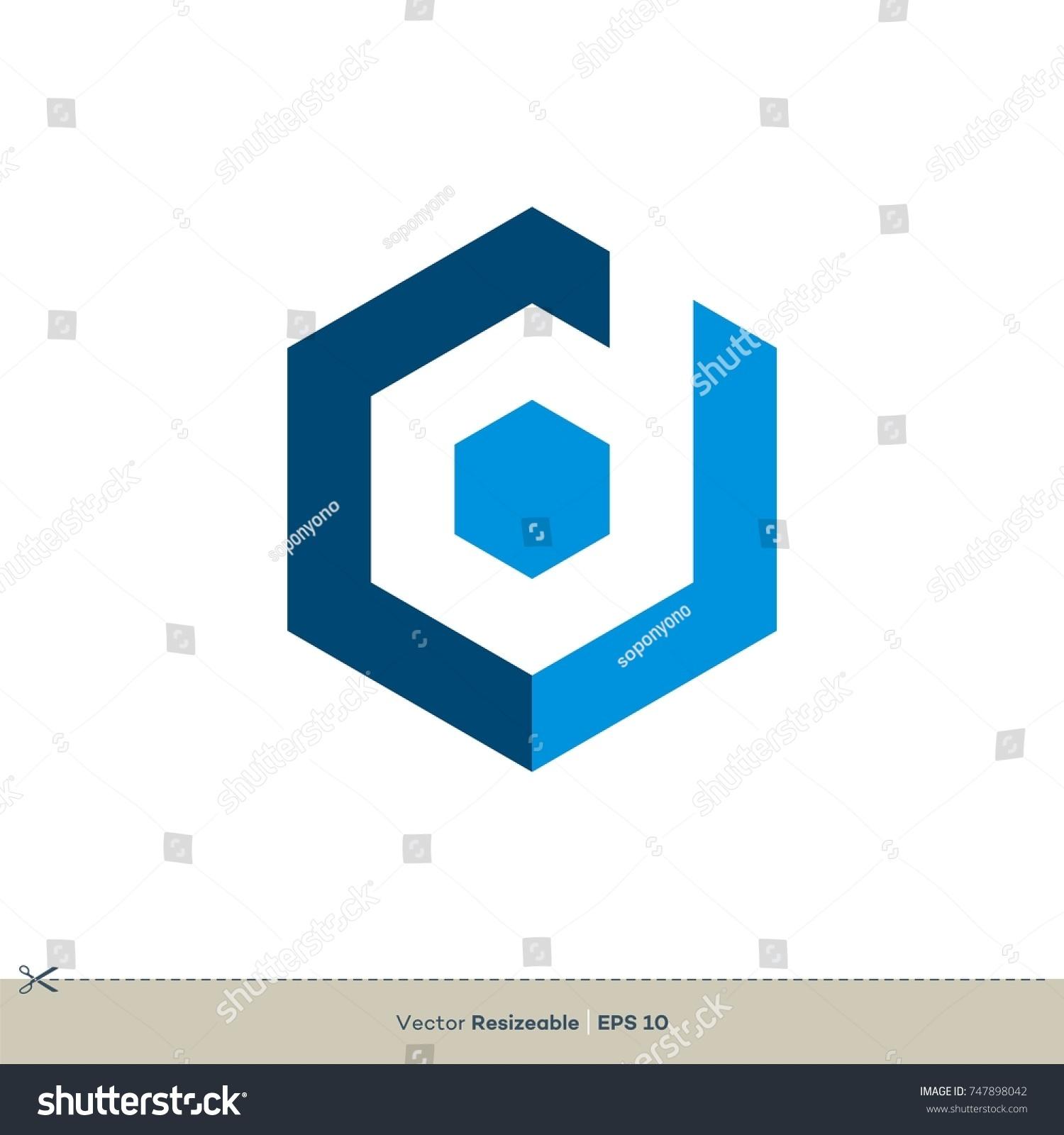 D Letter Hexagon Shape Vector Logo Stock Vector Royalty Free
