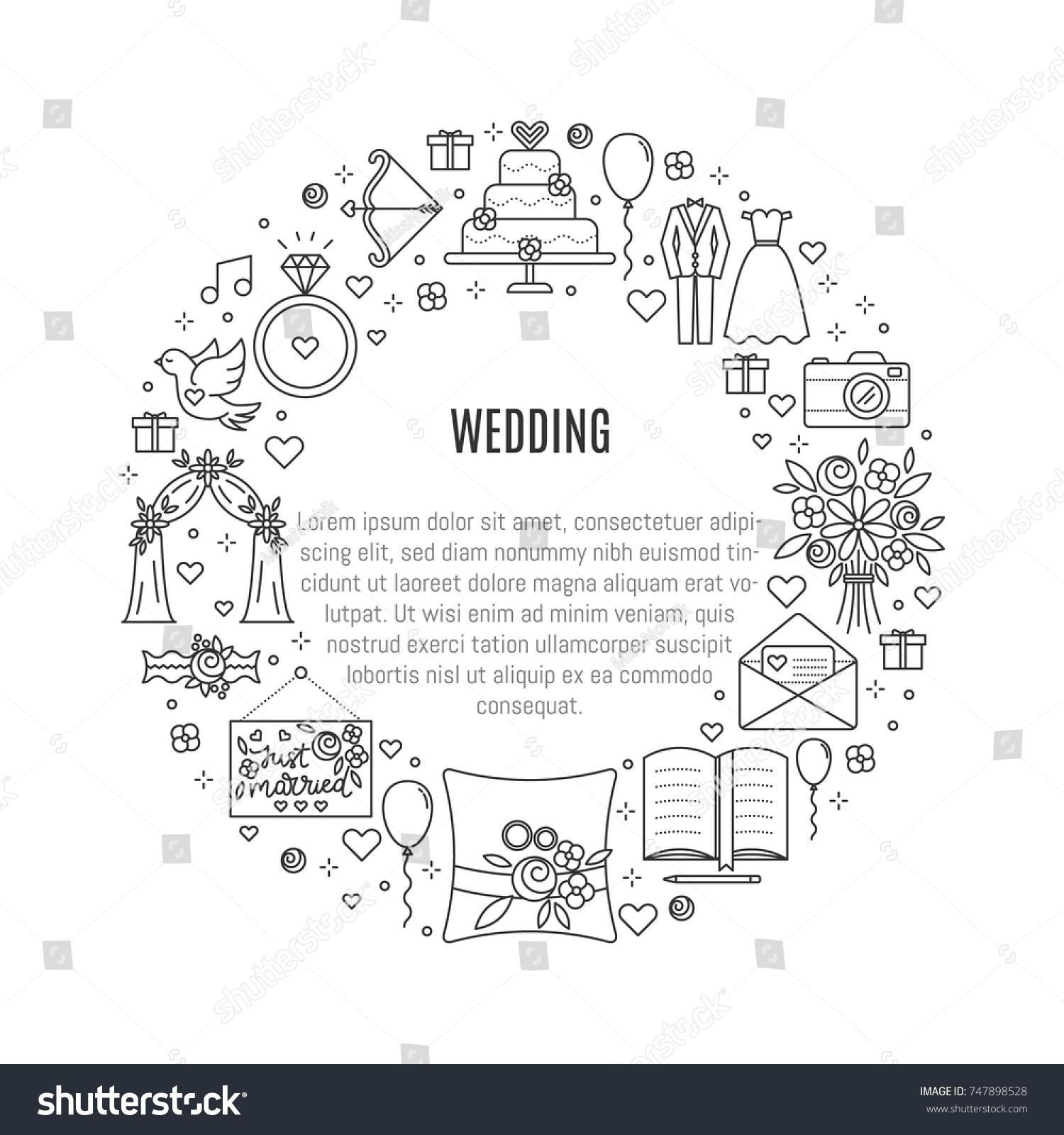 Vector Banner Wedding Symbols Linear Style Stock Vector Royalty