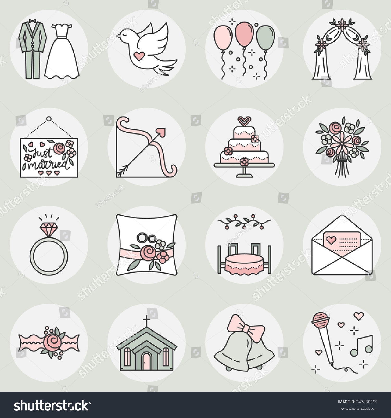 Vector Icon Set Wedding Symbols Linear Stock Vector Royalty Free