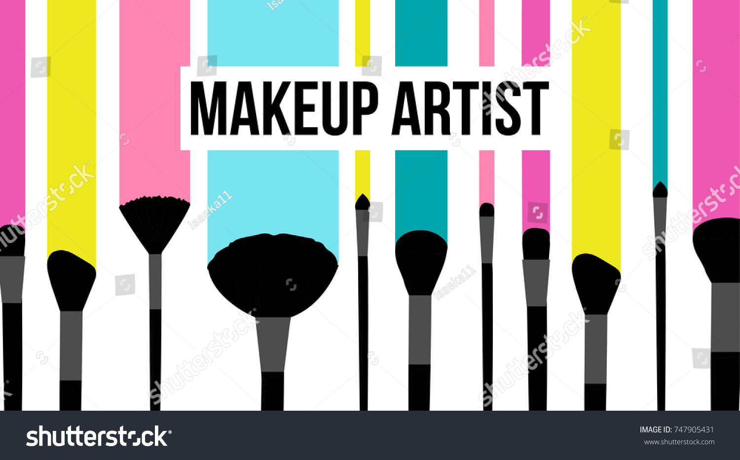 Makeup artist template business card colorful stock vector royalty makeup artist template business card colorful striped background with fashion silhouette of black makeup brushes reheart Choice Image
