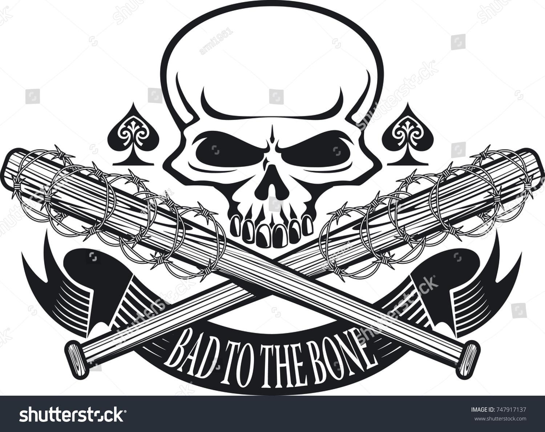 Skull Crossed Baseball Bats Barbed Wire Stock Vector HD (Royalty ...