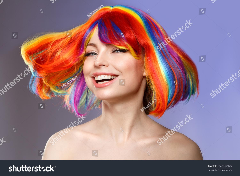 Woman Hair Color Splash Rainbow Do Stock Photo - Haircut girl model