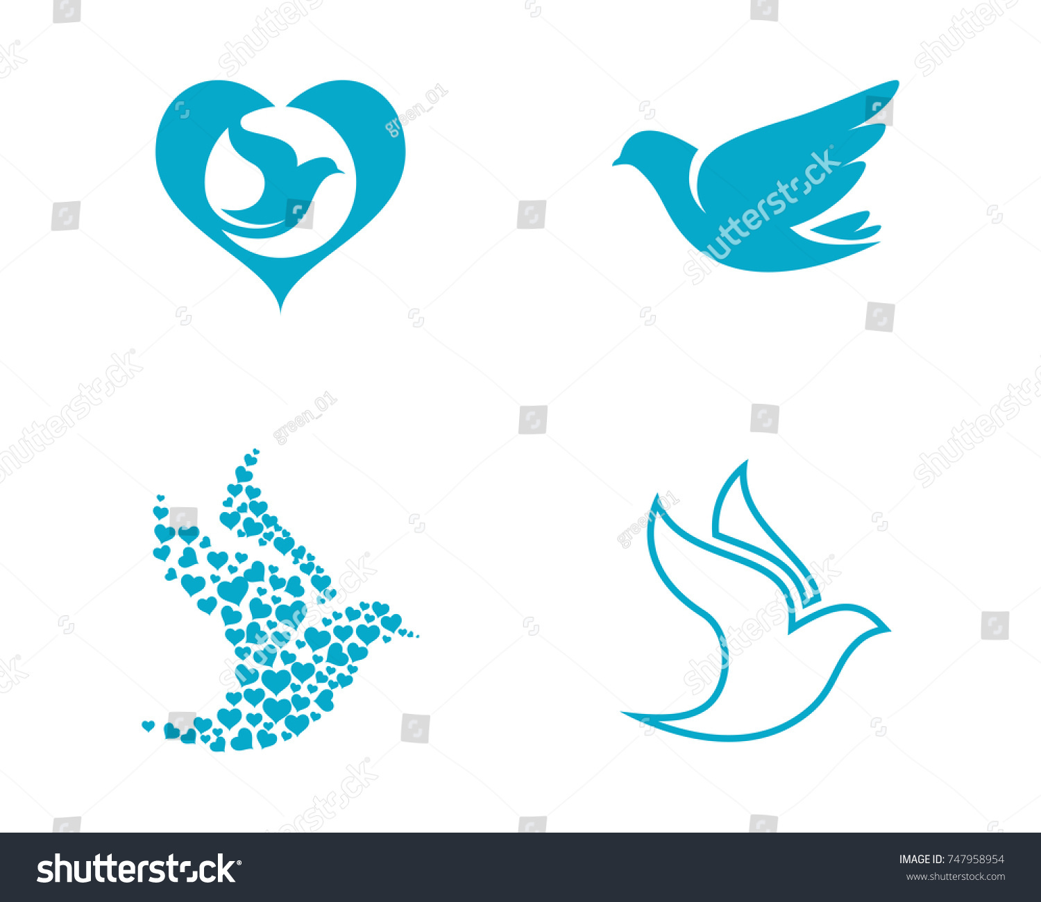 Bird Wing Dove Logo Template Vector Stock Vector 747958954 ...