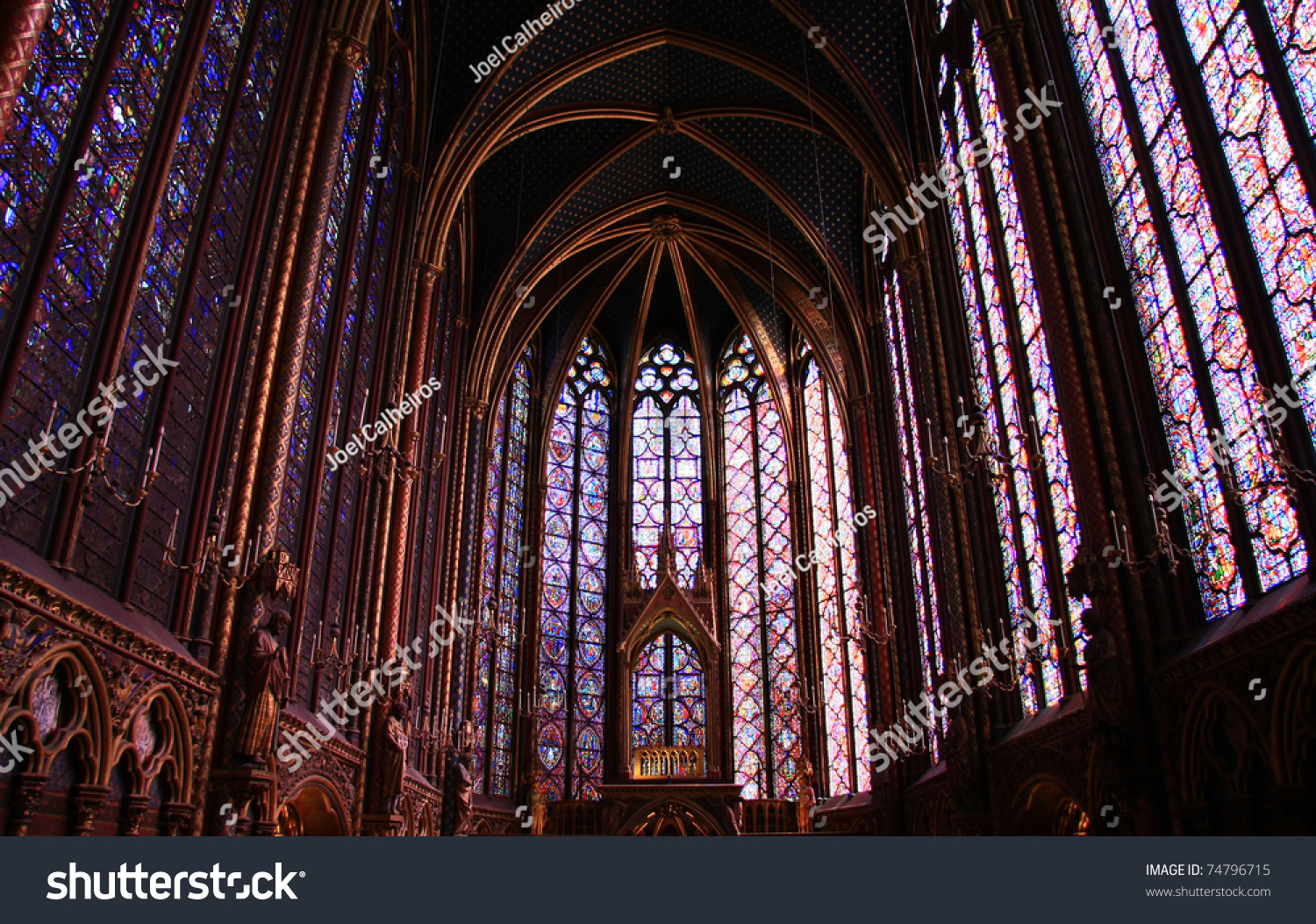 Famous Stained Glass Windows And Ceiling Within La Sainte Chapelle Chapel In Paris France