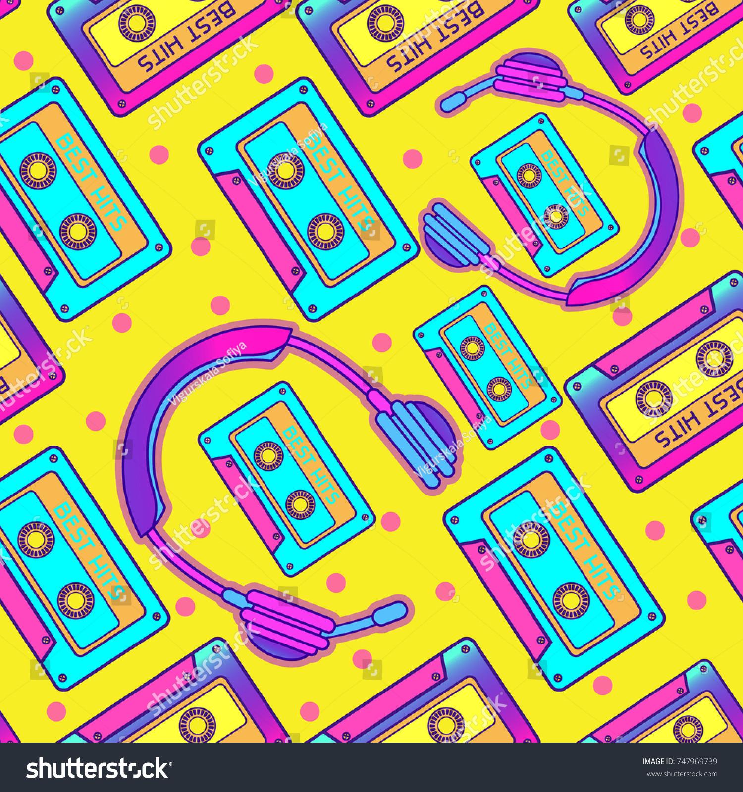 レトロなpop 90sオーディオシームレスパターン 背景 カセットと