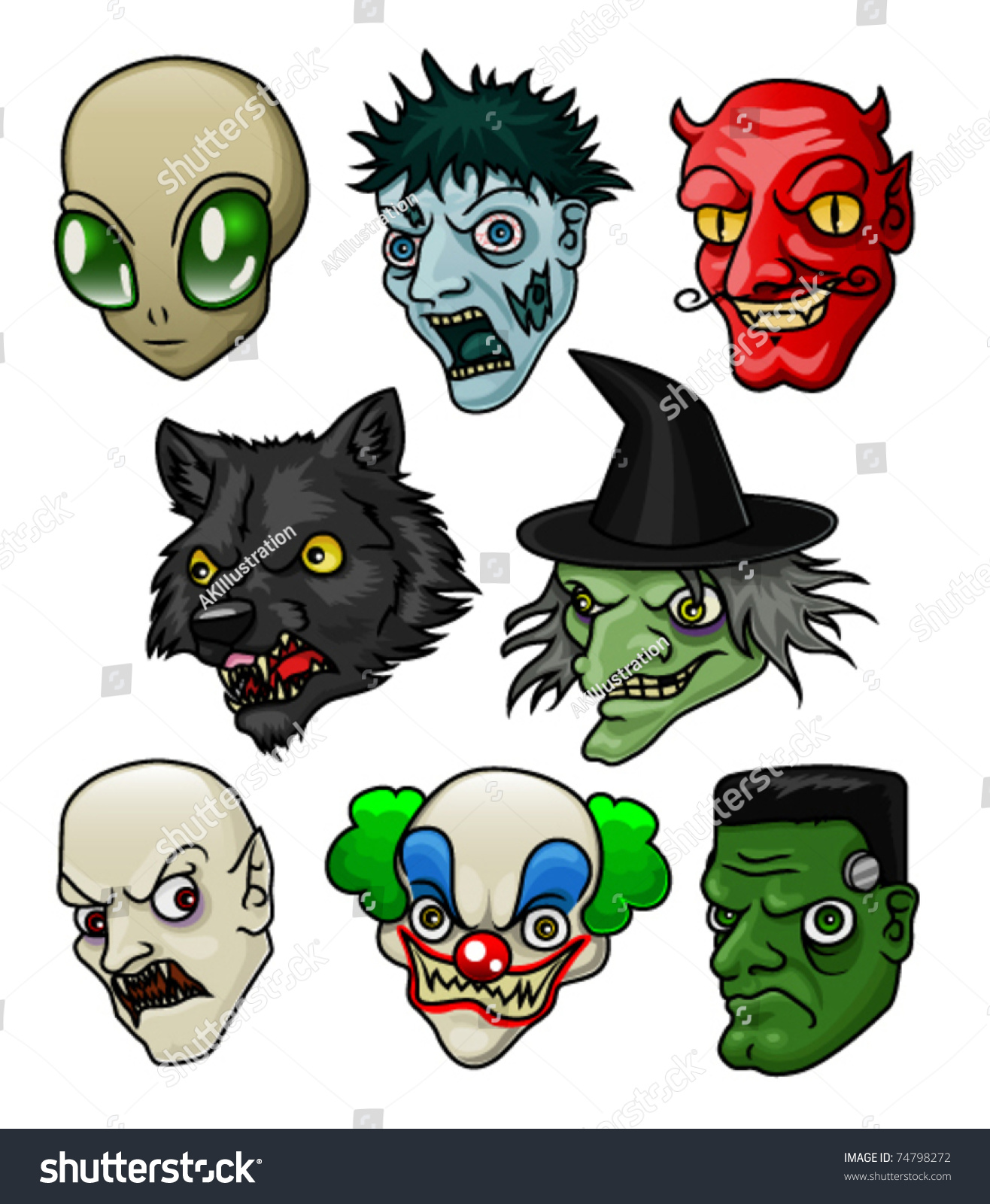 A Collection Of 8 Different Halloween Monsters And ...