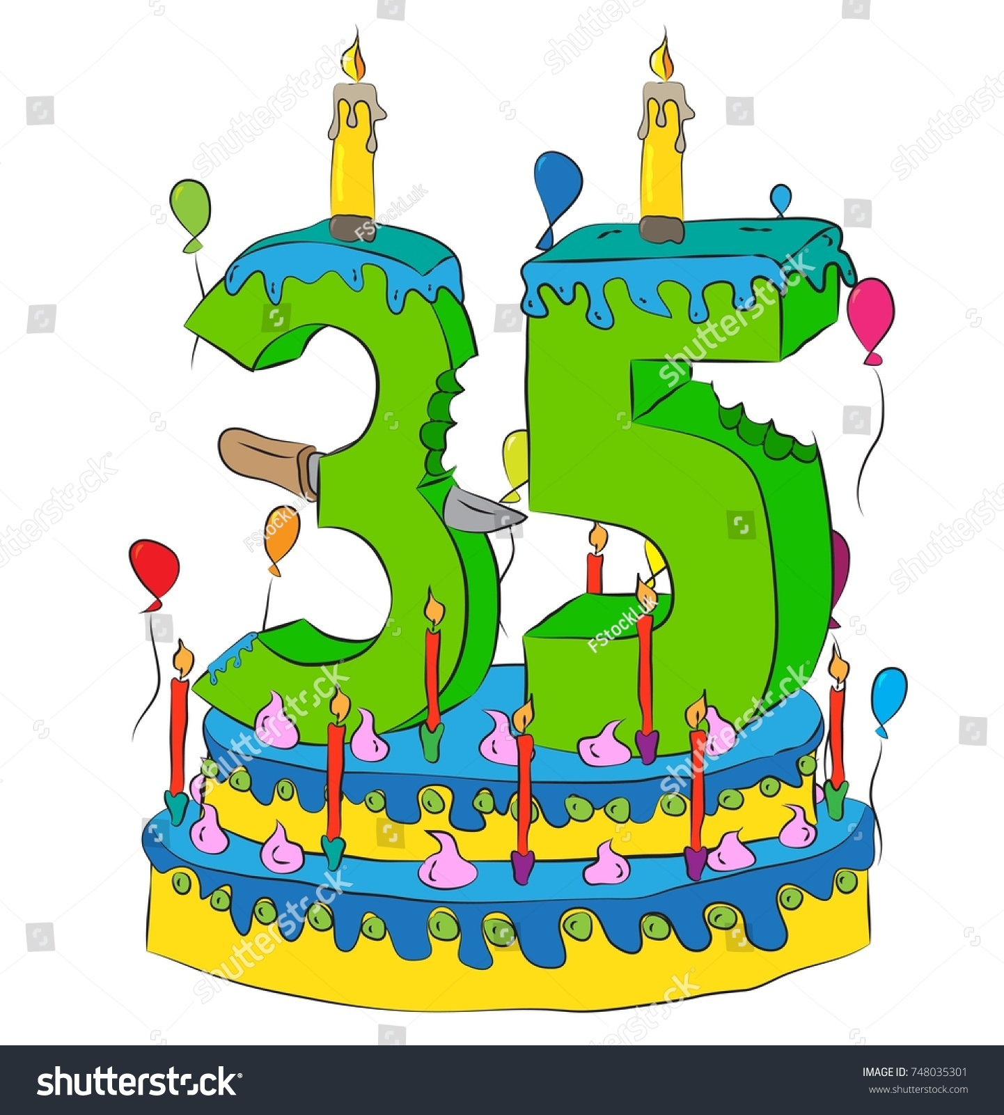 35 Birthday Cake Number Thirty Five Stock Vector 748035301