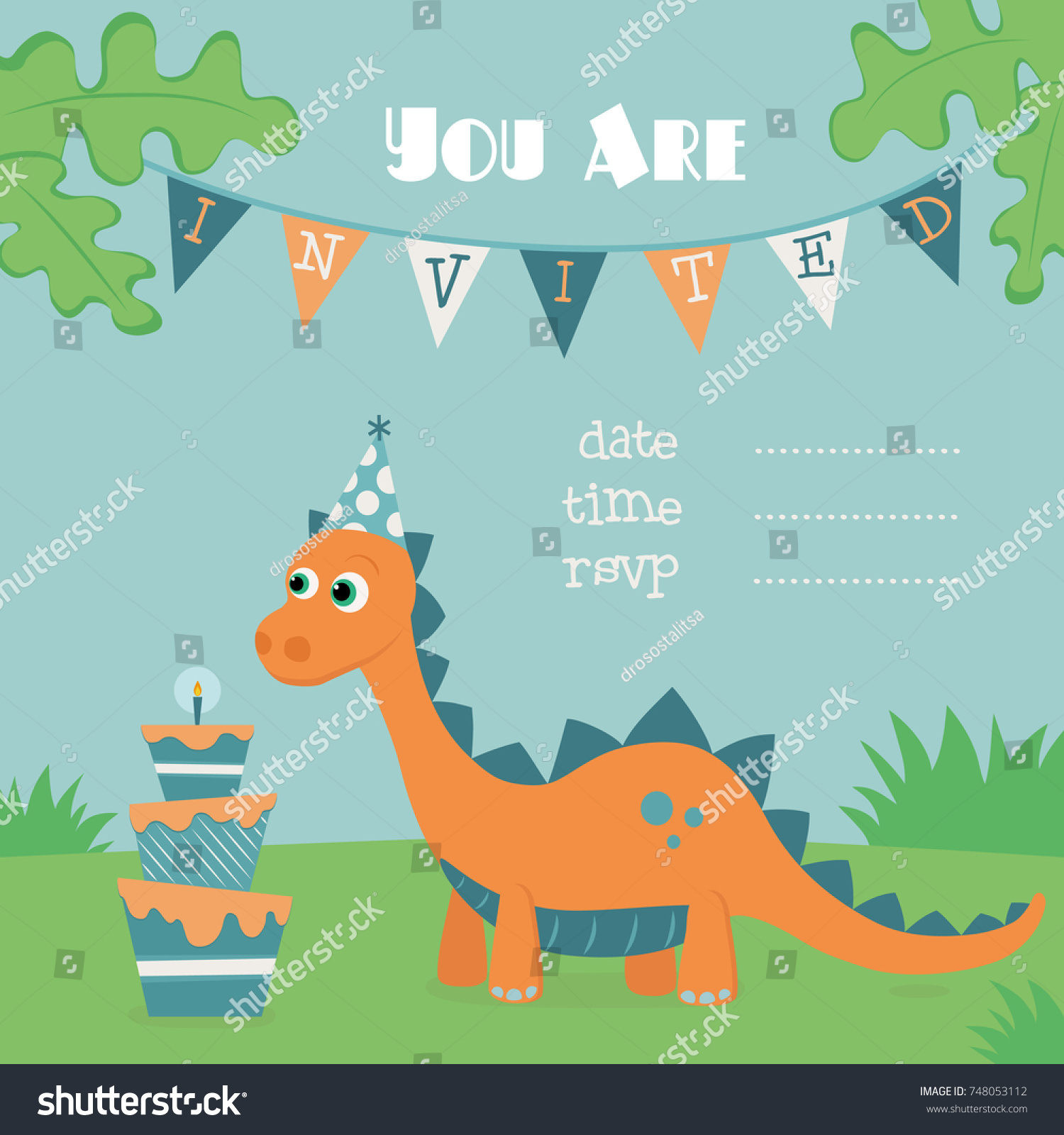 Dinosaur Party Invitation Card Vector save the date templates free ...