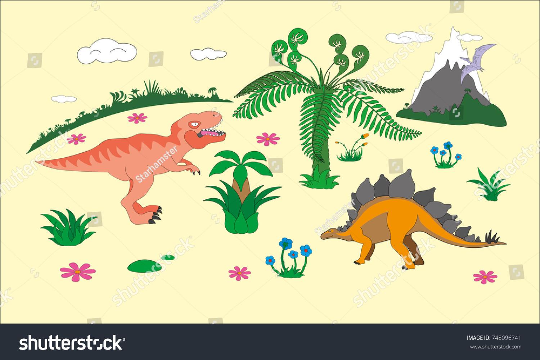 Jurassic dinosaurs world kids room themed wallpaper idea, high ...