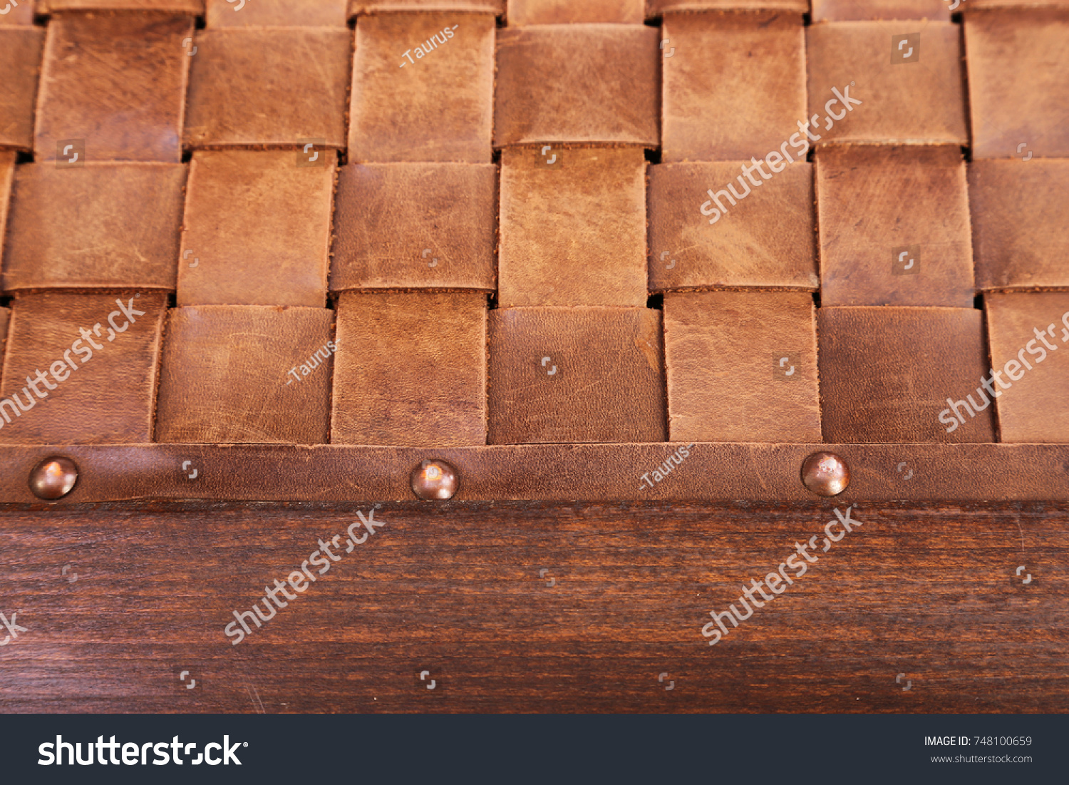 Leather Strips Nailed Wooden Board Decorative Stock Photo 748100659 ...