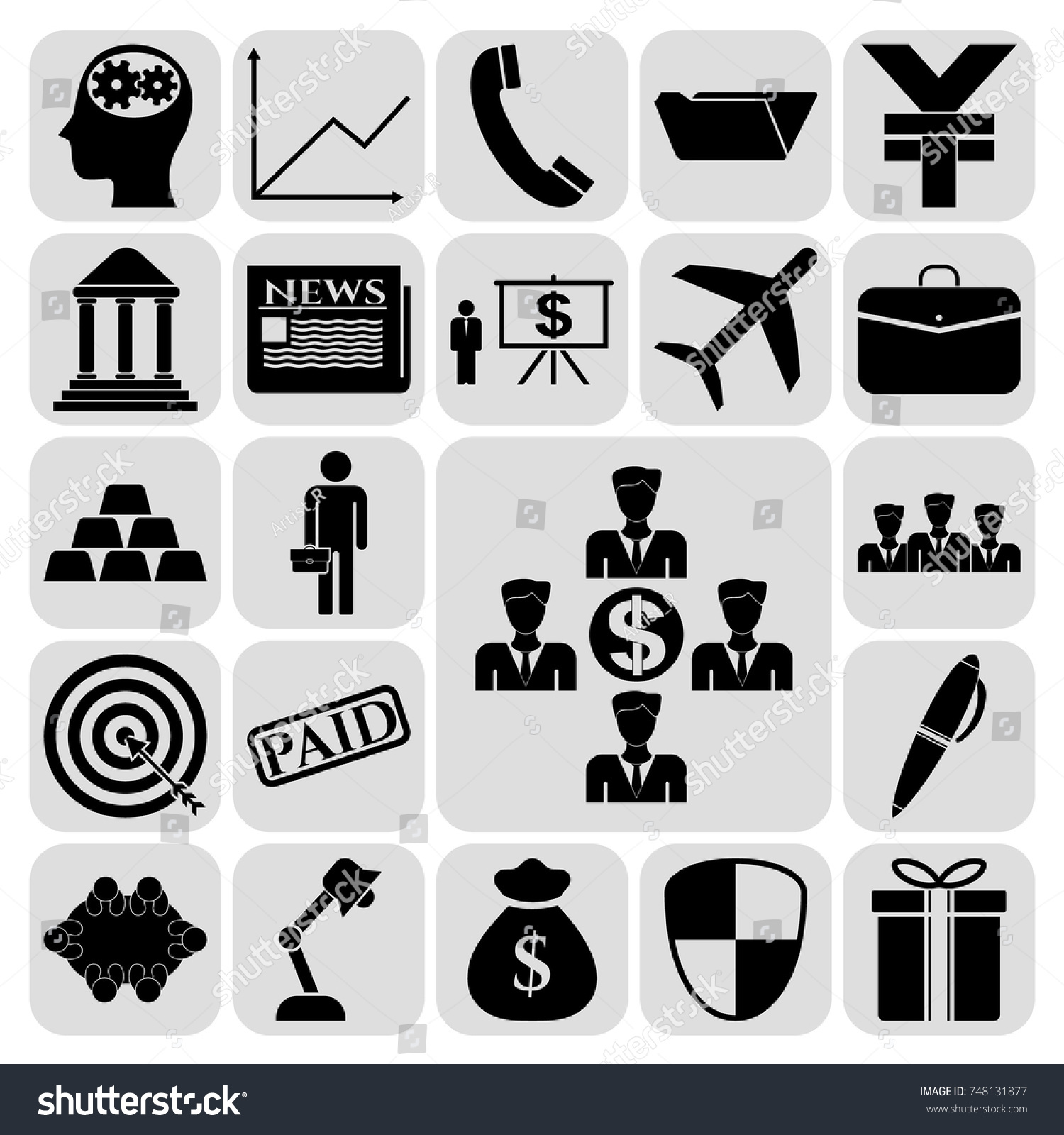 Set 22 Business High Quality Symbols Stock Vector 748131877