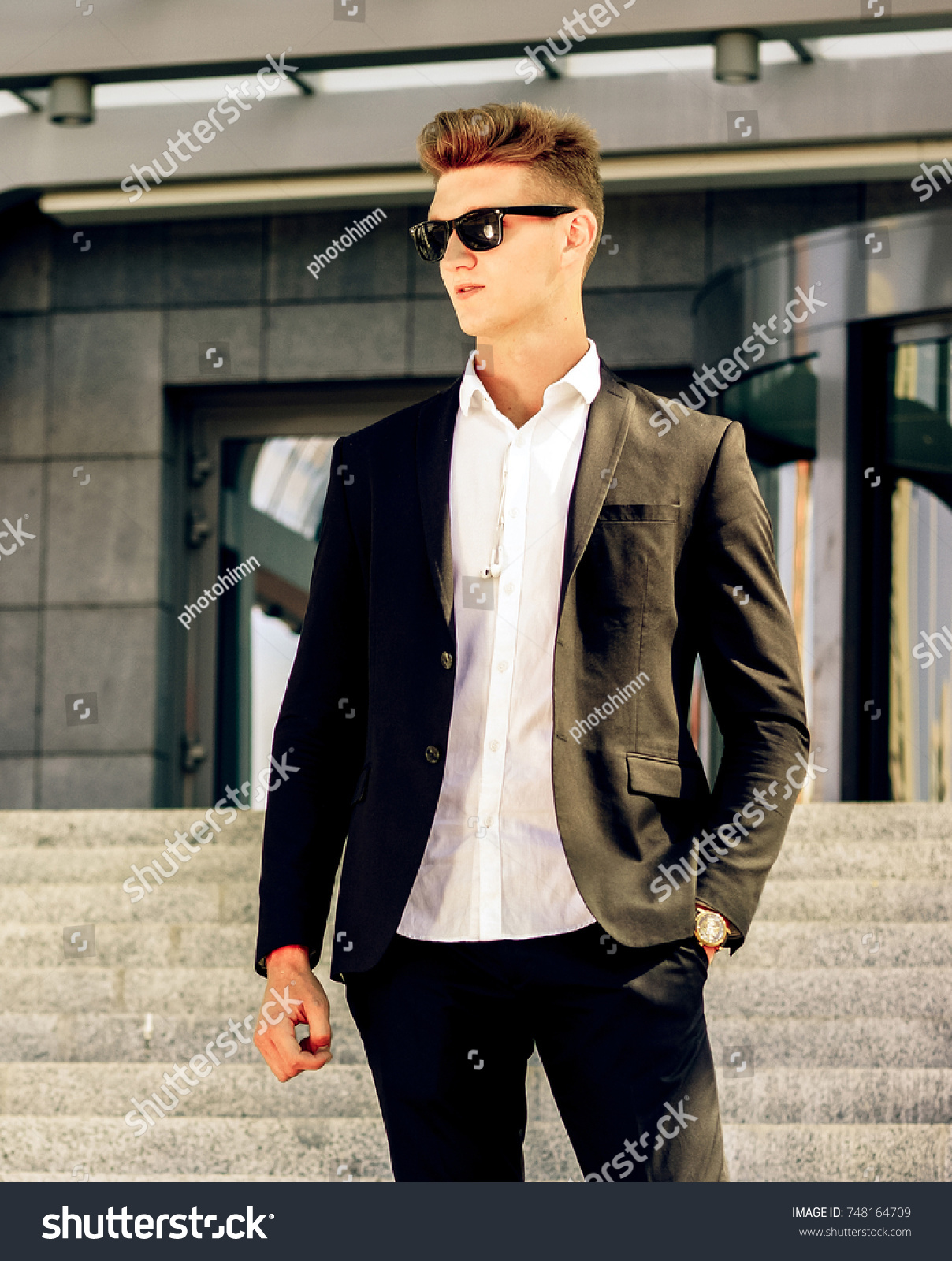 Young Blonde Fashion Man One Hand Stock Photo Edit Now 748164709