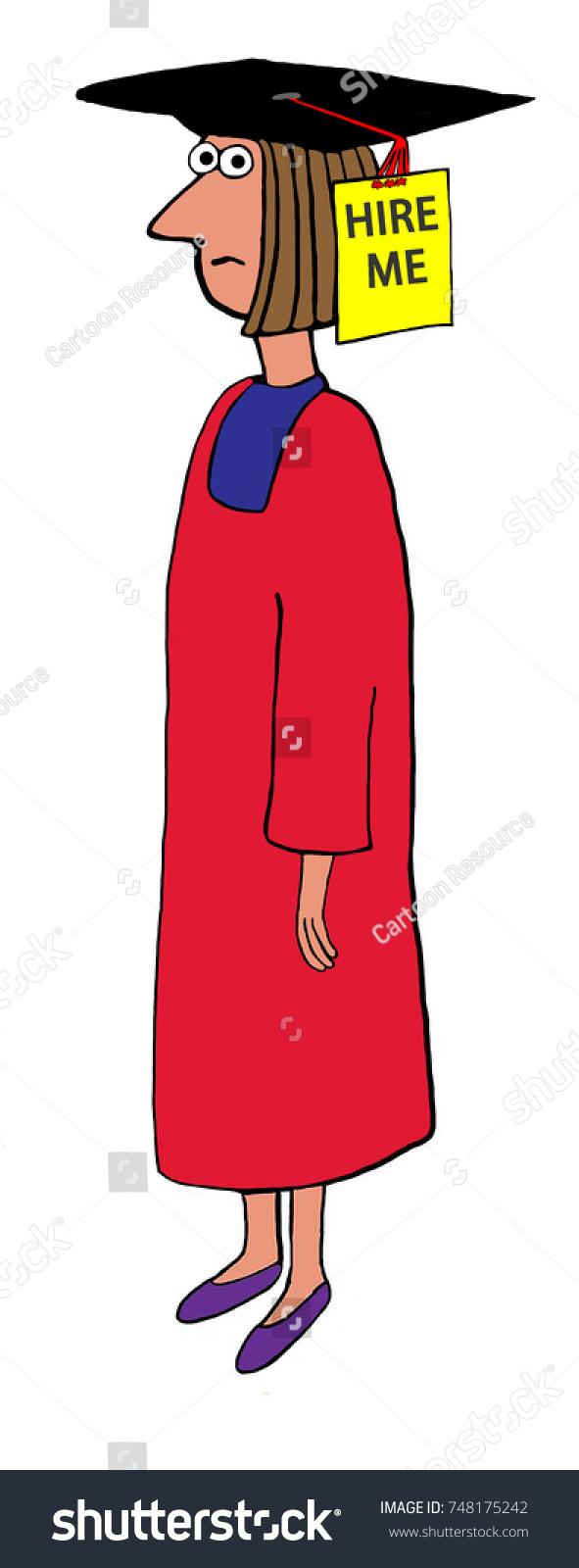 Education Cartoon Illustration Female Graduate Wearing Stock ...