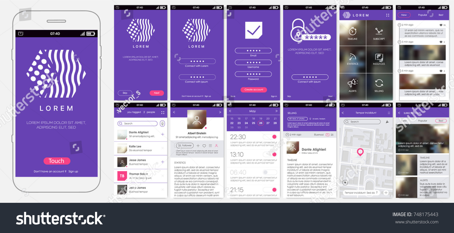 Design Of Mobile App, UI, UX, GUI. Set With A Welcome Window