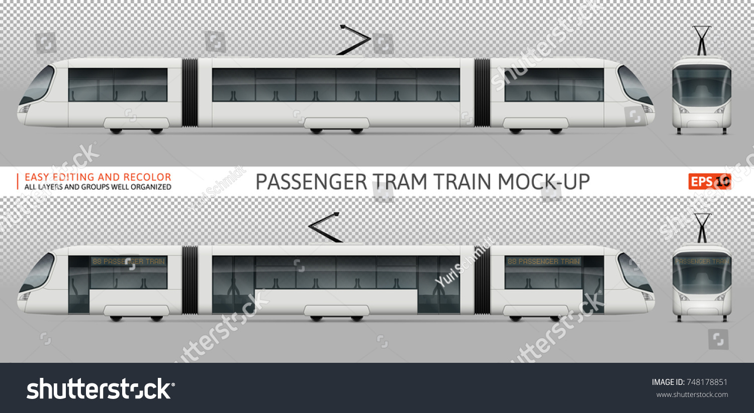 Vector Tram Train Template Advertising Corporate Stock Vector Royalty Free 748178851