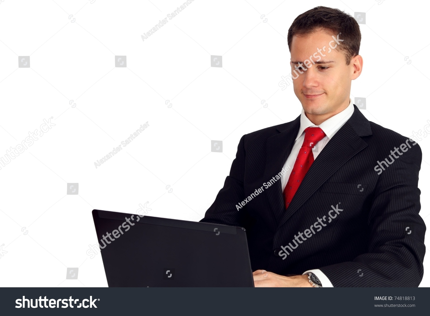 handsome young man suit working on stock photo 74818813