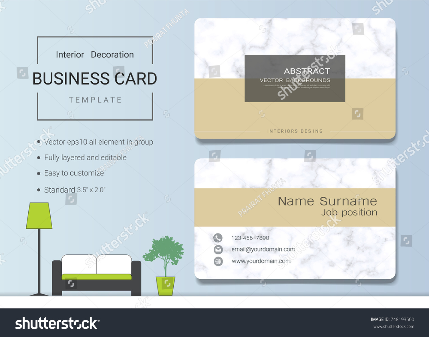 Business name card template interior designer stock vector business name card template for interior designer modern and elegant style with marbling texture imitation reheart Choice Image