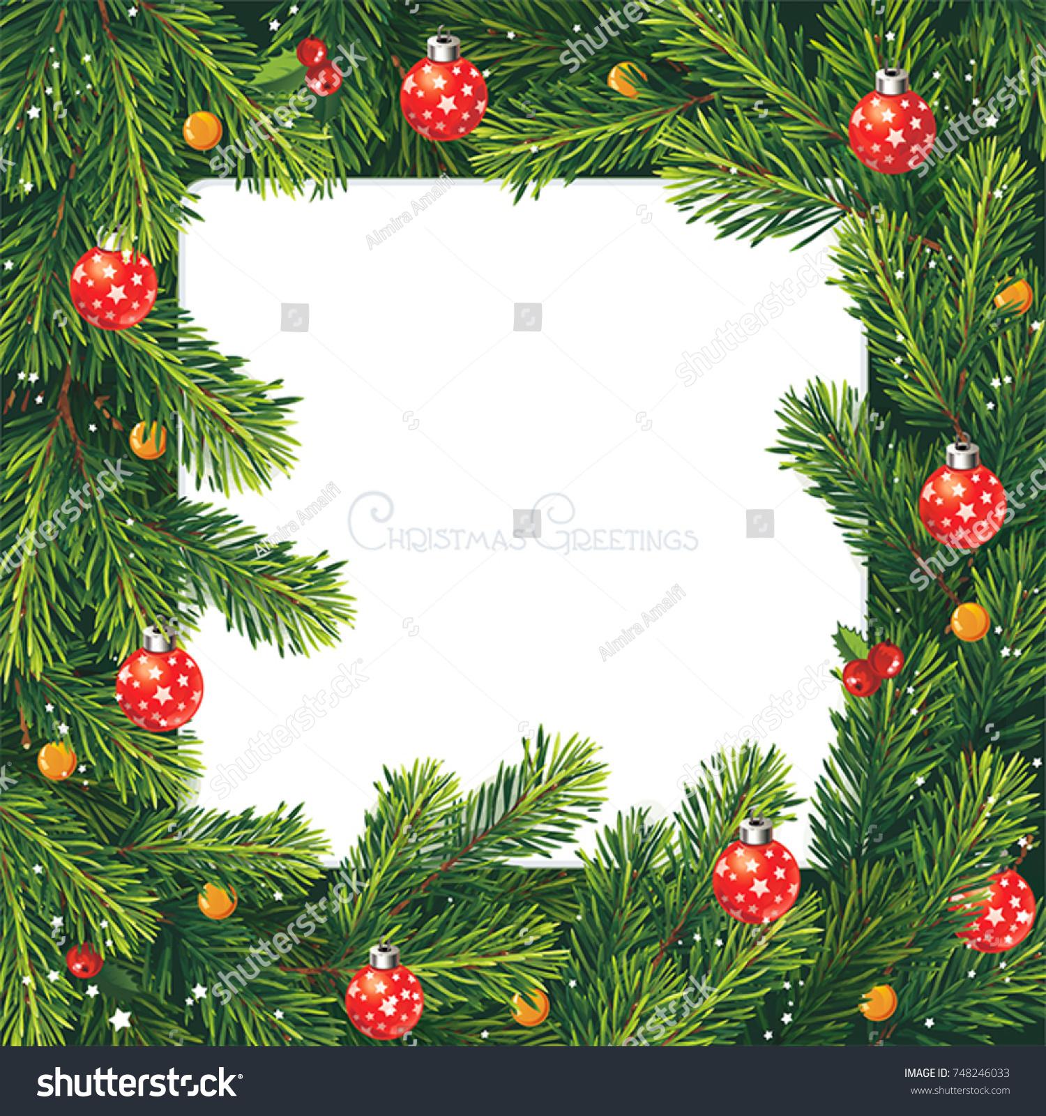 Christmas Party Invitation Fir Pine Holly Stock Vector 748246033 ...