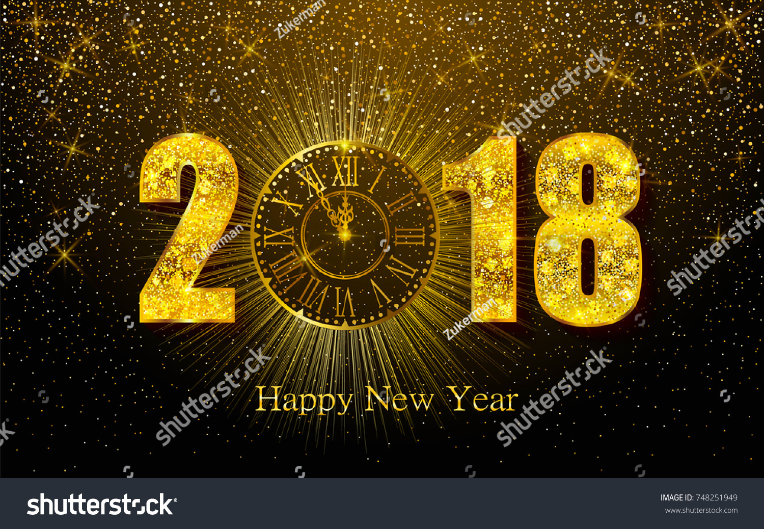 happy new year 2018 background with golden sparkling texture gold numbers 1 2